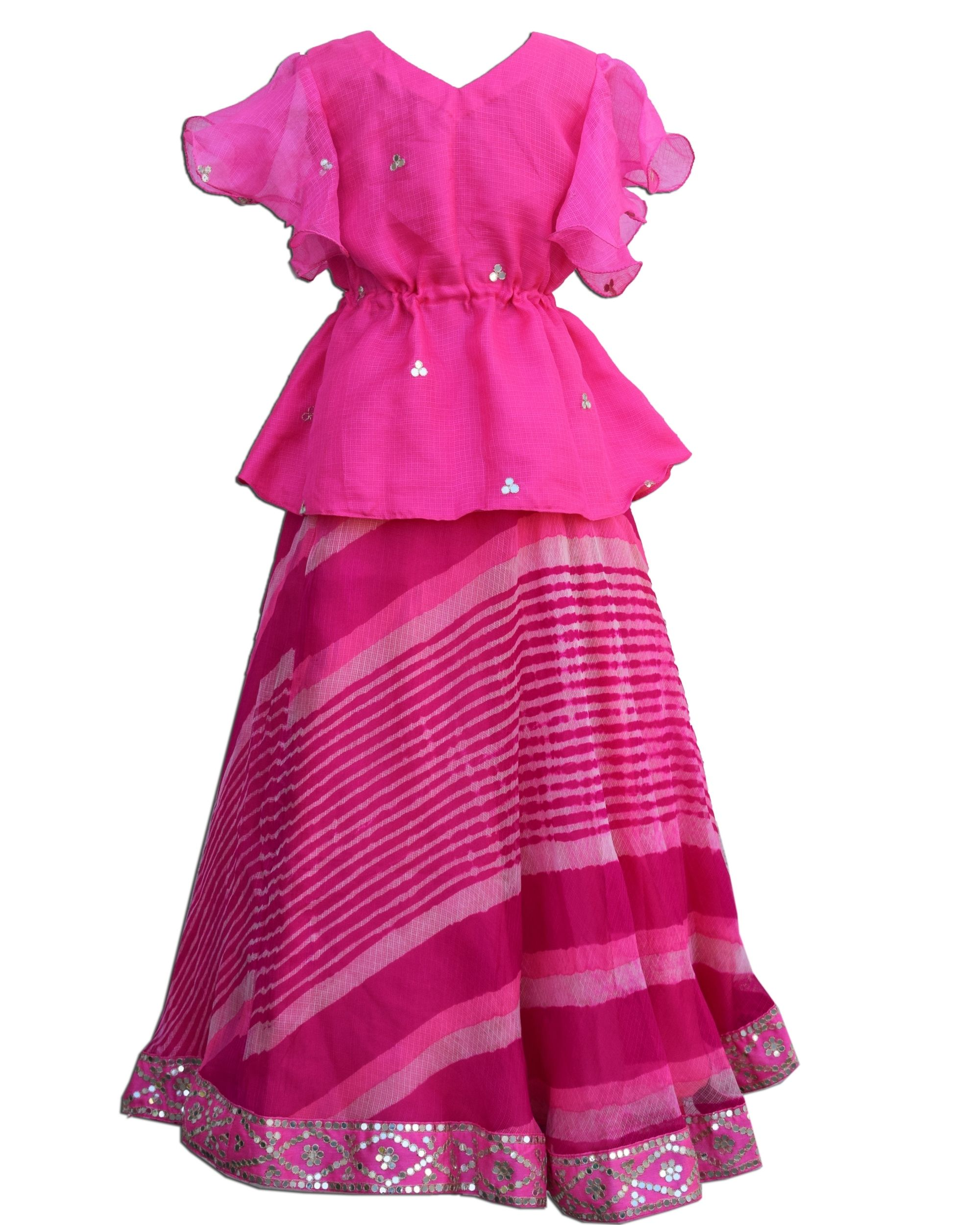 Pink ruffled peplum top and leheriya skirt - Set Of Two