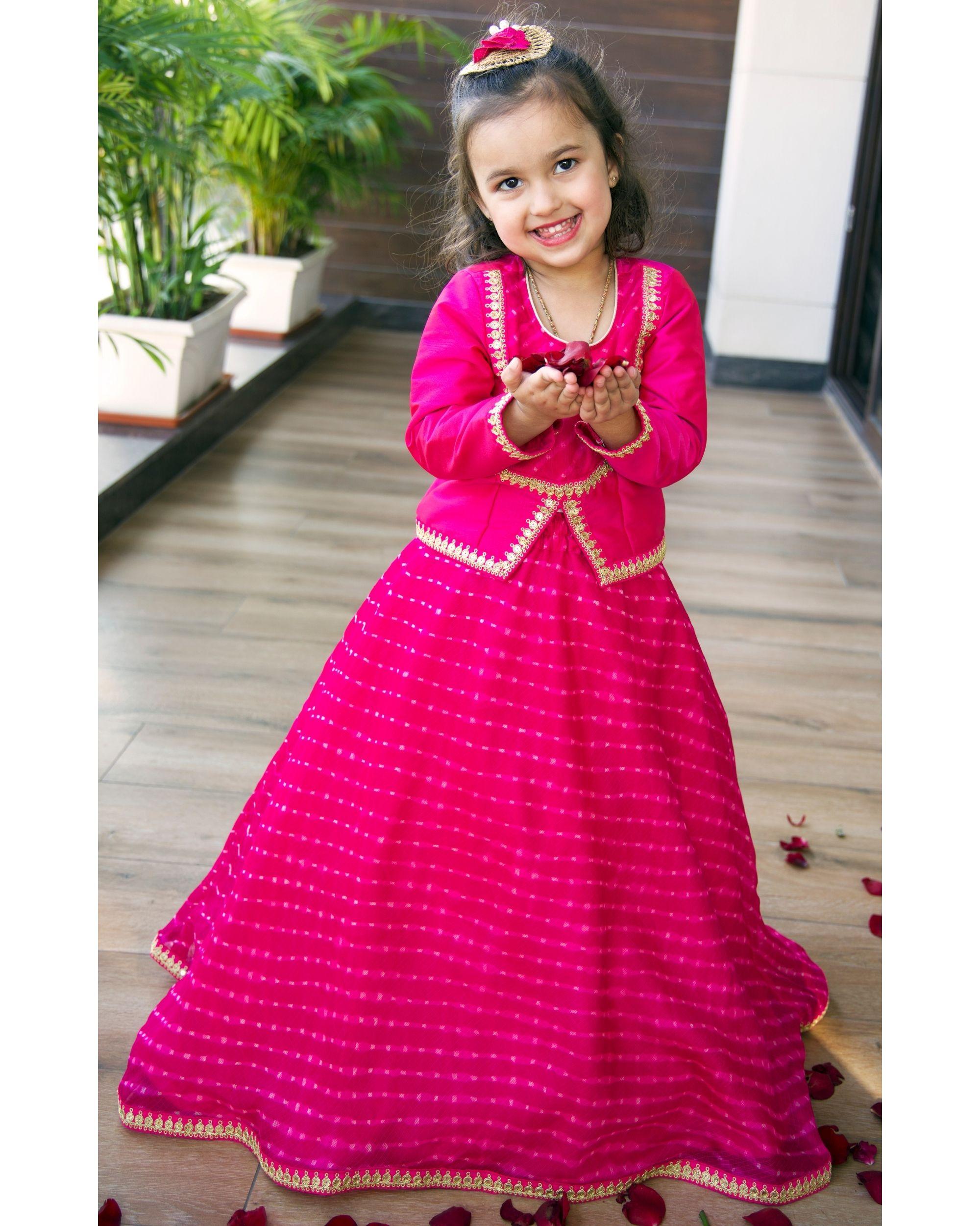 Rani pink slit top with mothra skirt - Set Of Two