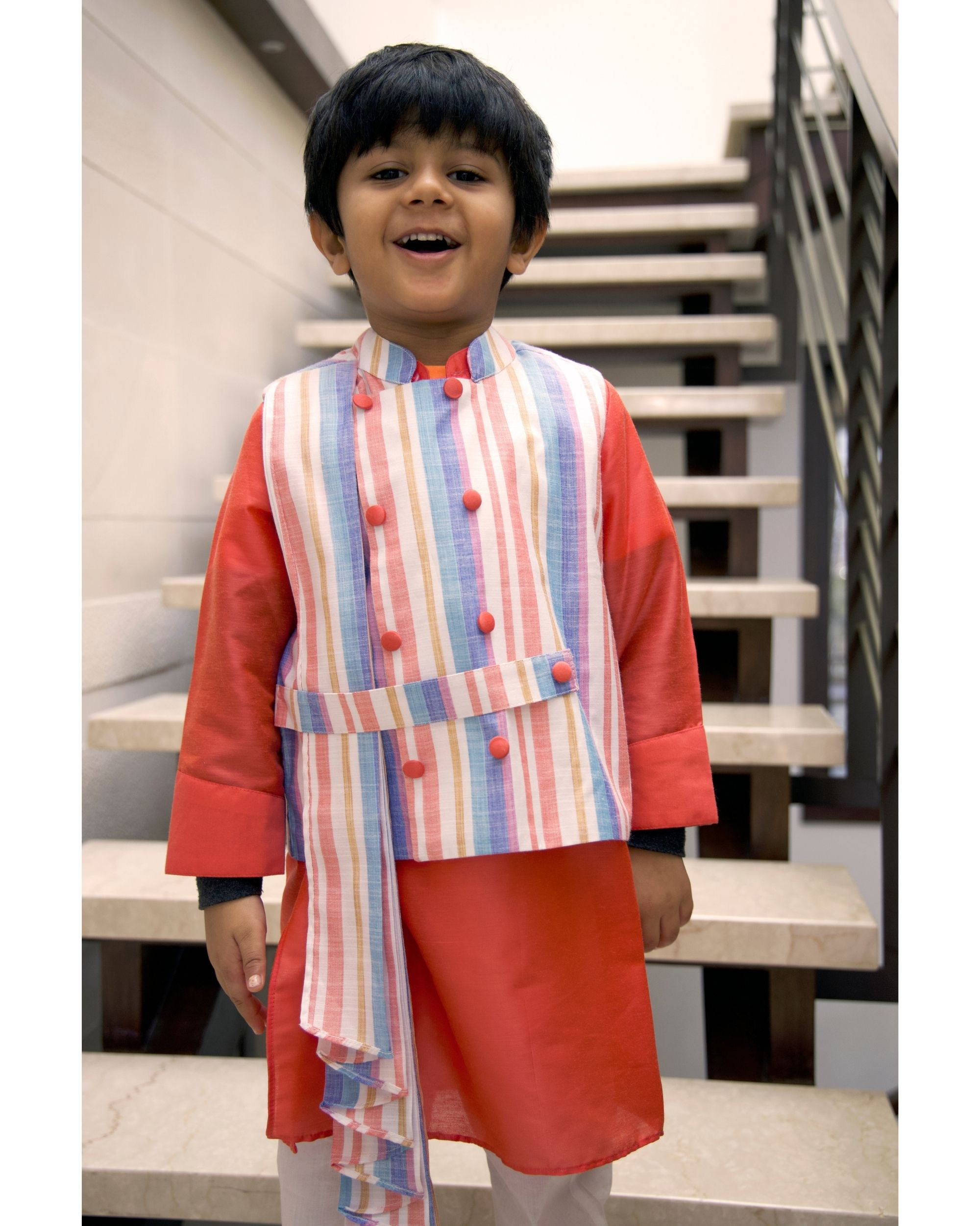 Striped pleated jacket with coral kurta and pants - Set Of Three