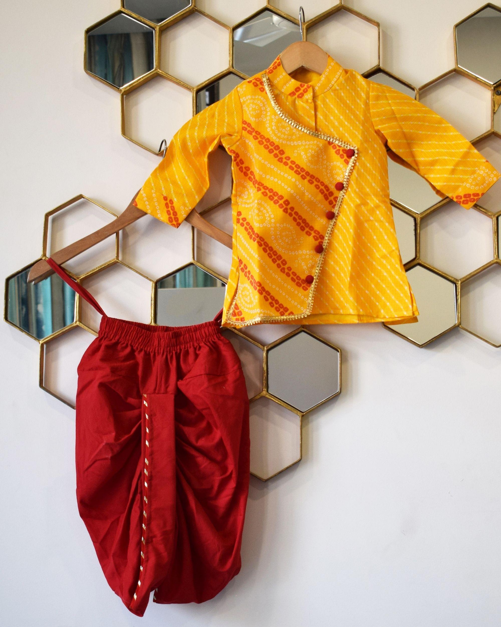 Mustard yellow overlap bandhini kurta with dhoti pants - Set Of Two