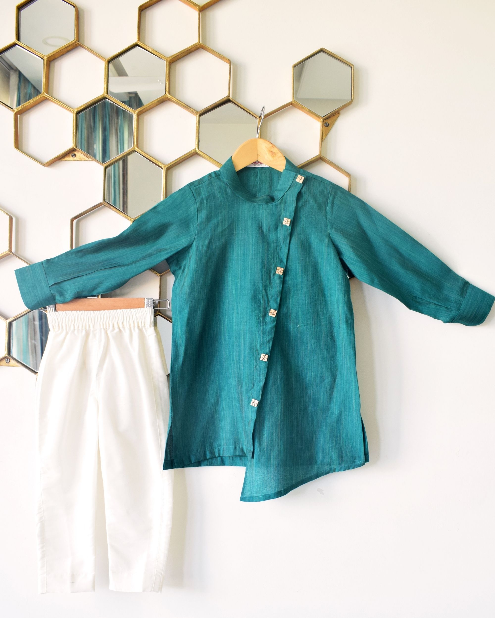 Teal green asymmetrical buttoned kurta and pants - Set Of Two