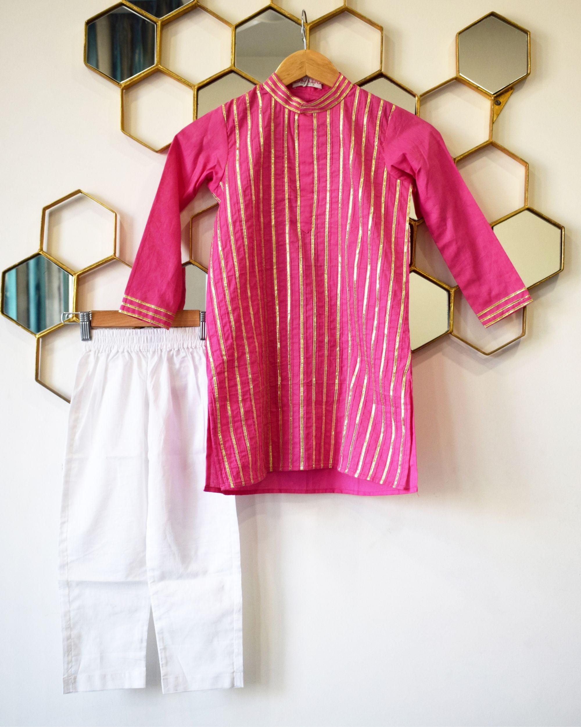 Rani pink gota work kurta and pyjama - Set Of Two