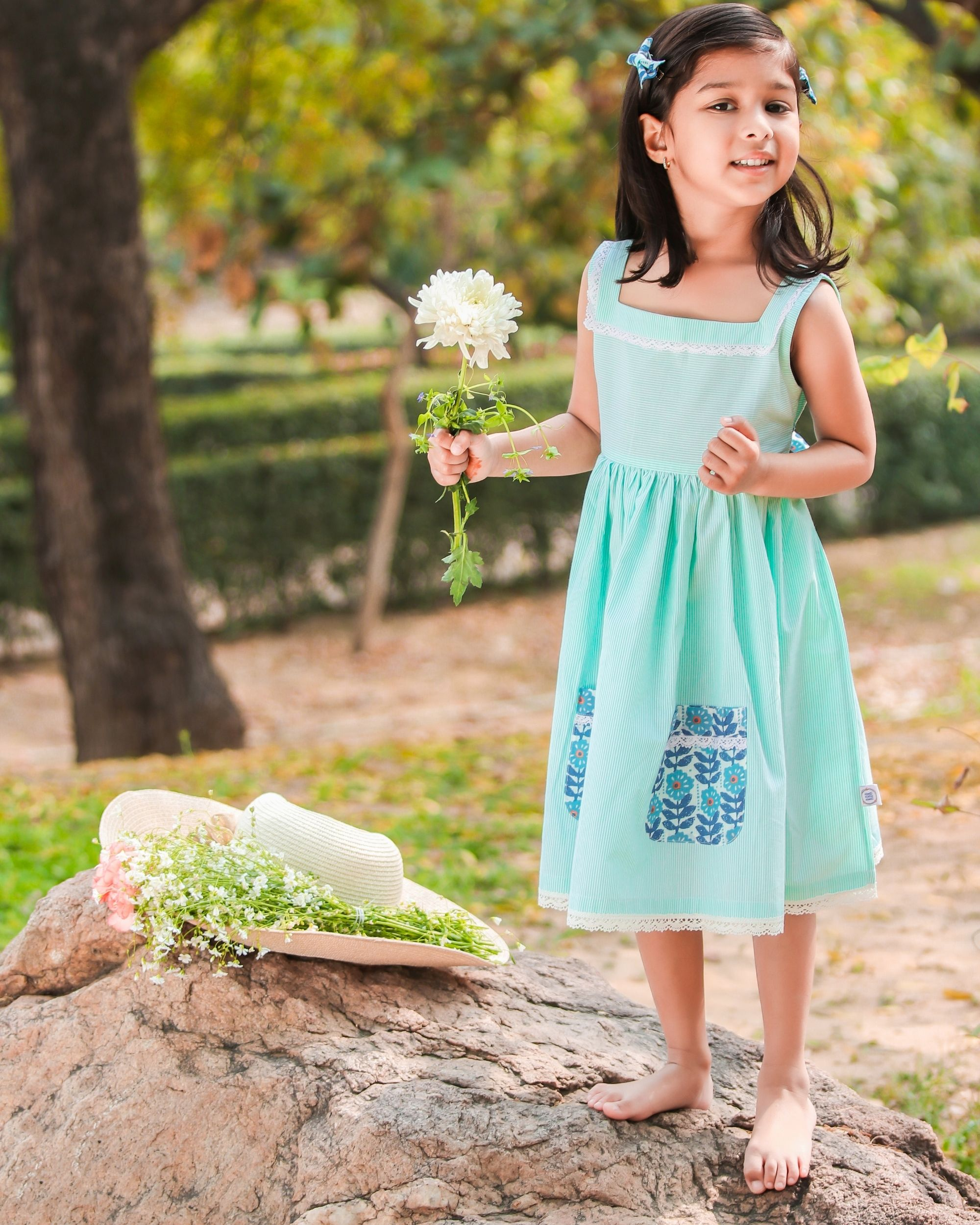 Green and blue lace dress