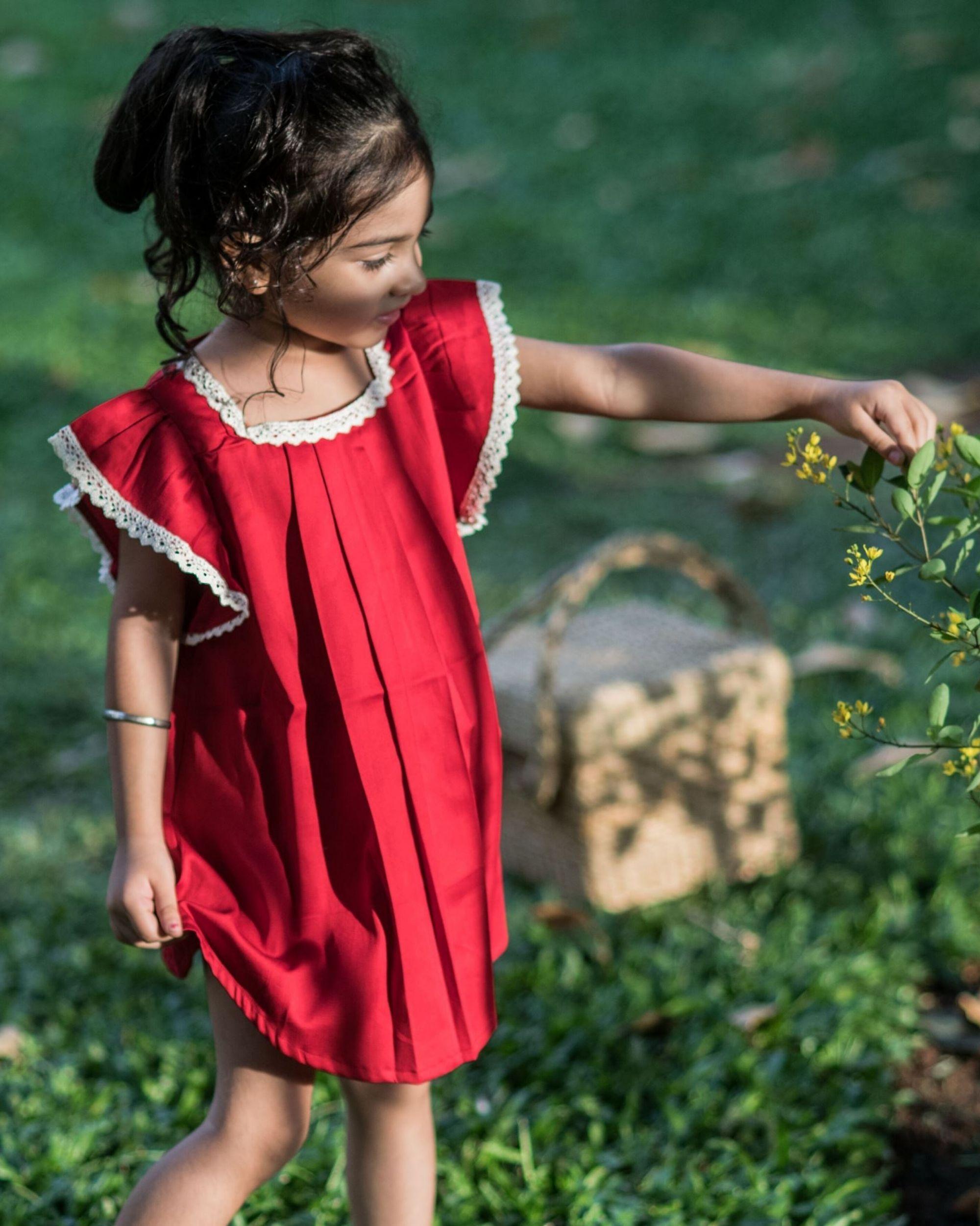 cherry red ruffle sleeve dress
