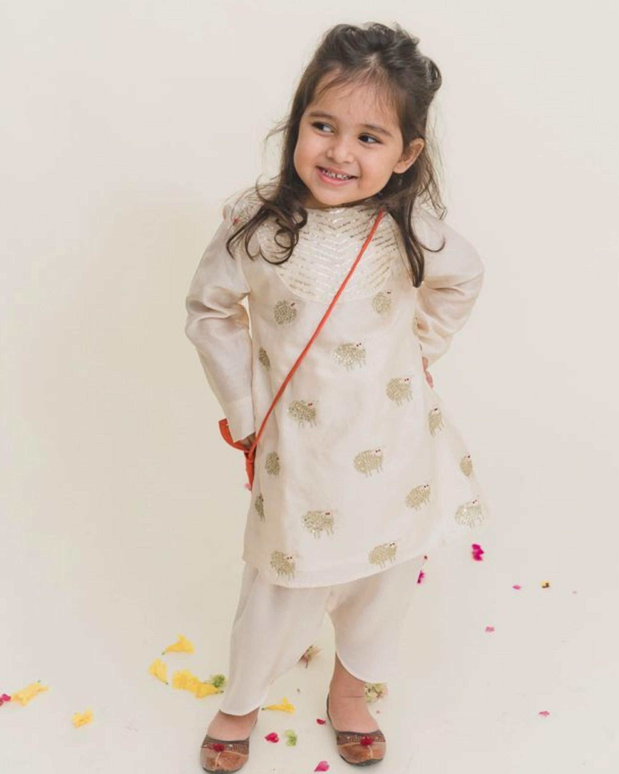 White yoke kurta with dhoti pants - Set of Two