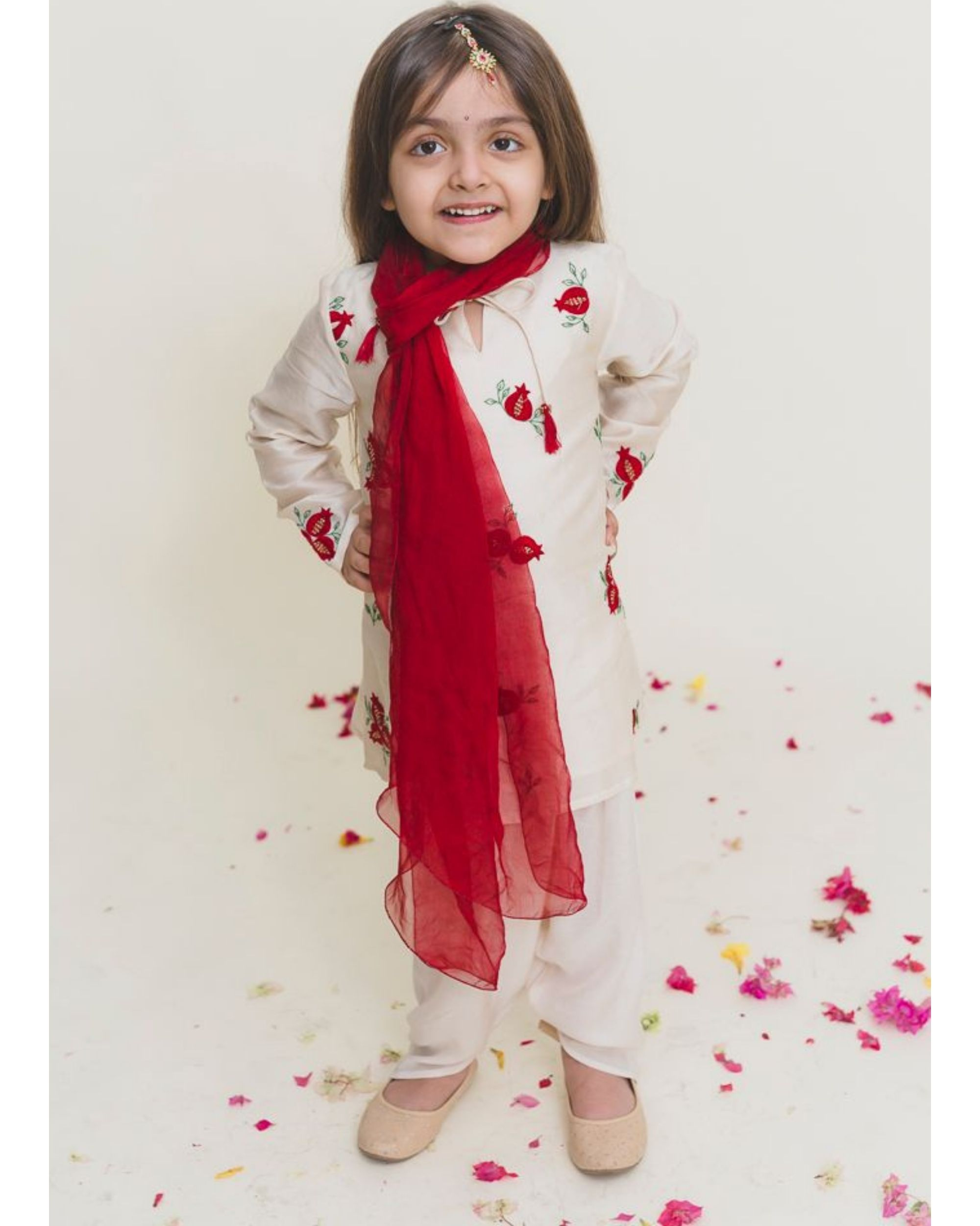 Red embroidered straight kurta with pants - Set of Two