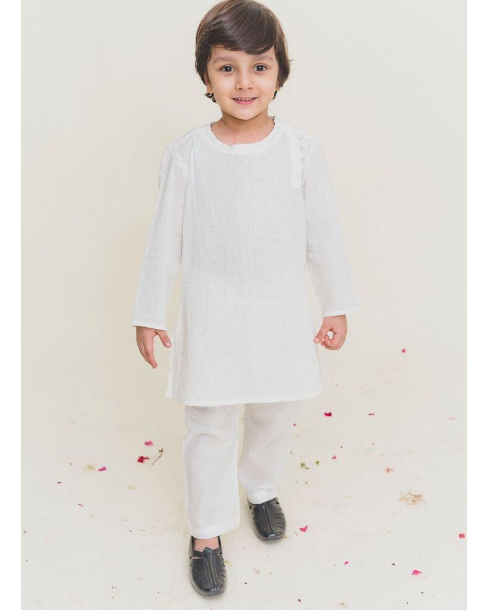 White printed side open kurta