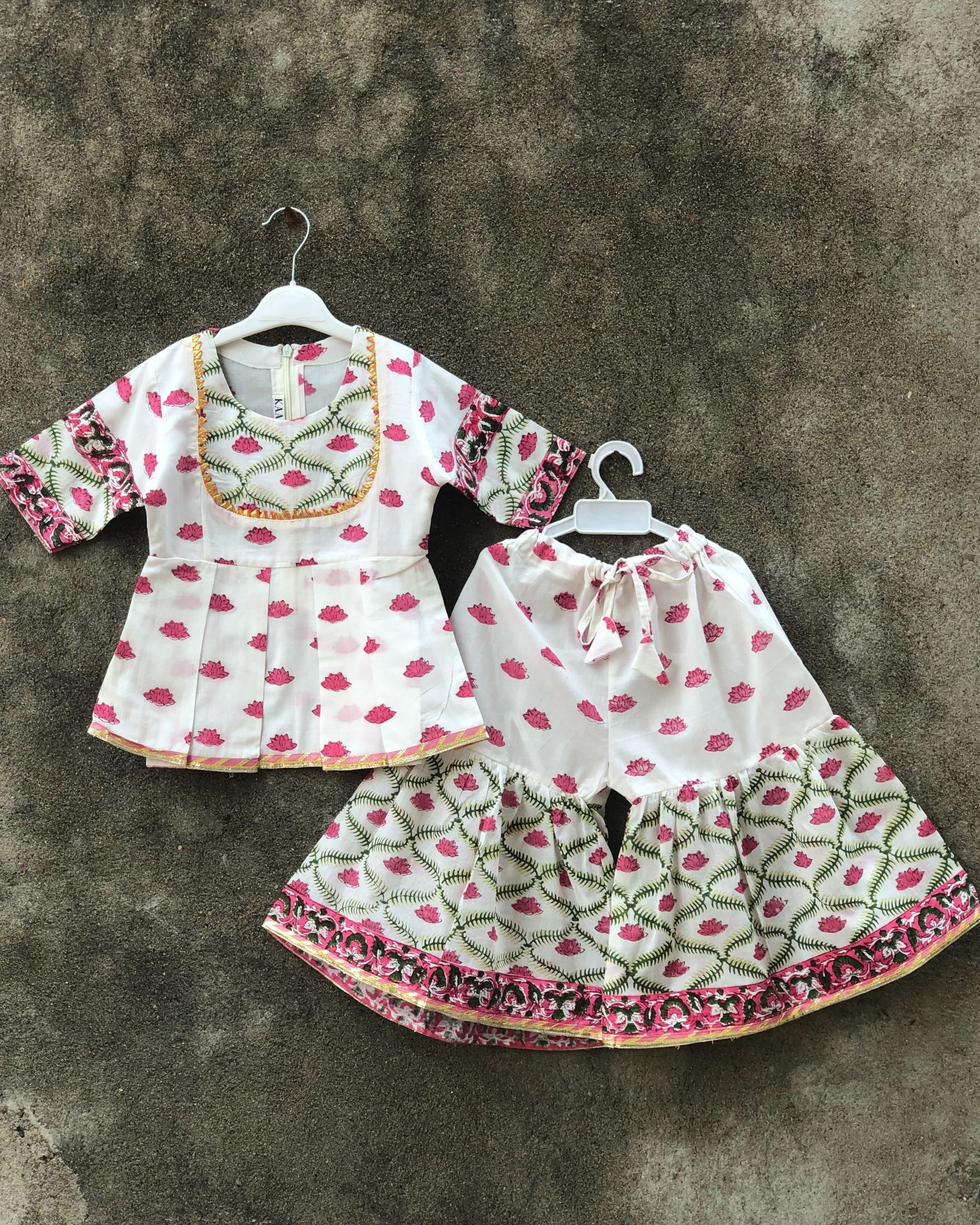 Pink and white lotus sharara set - set of two