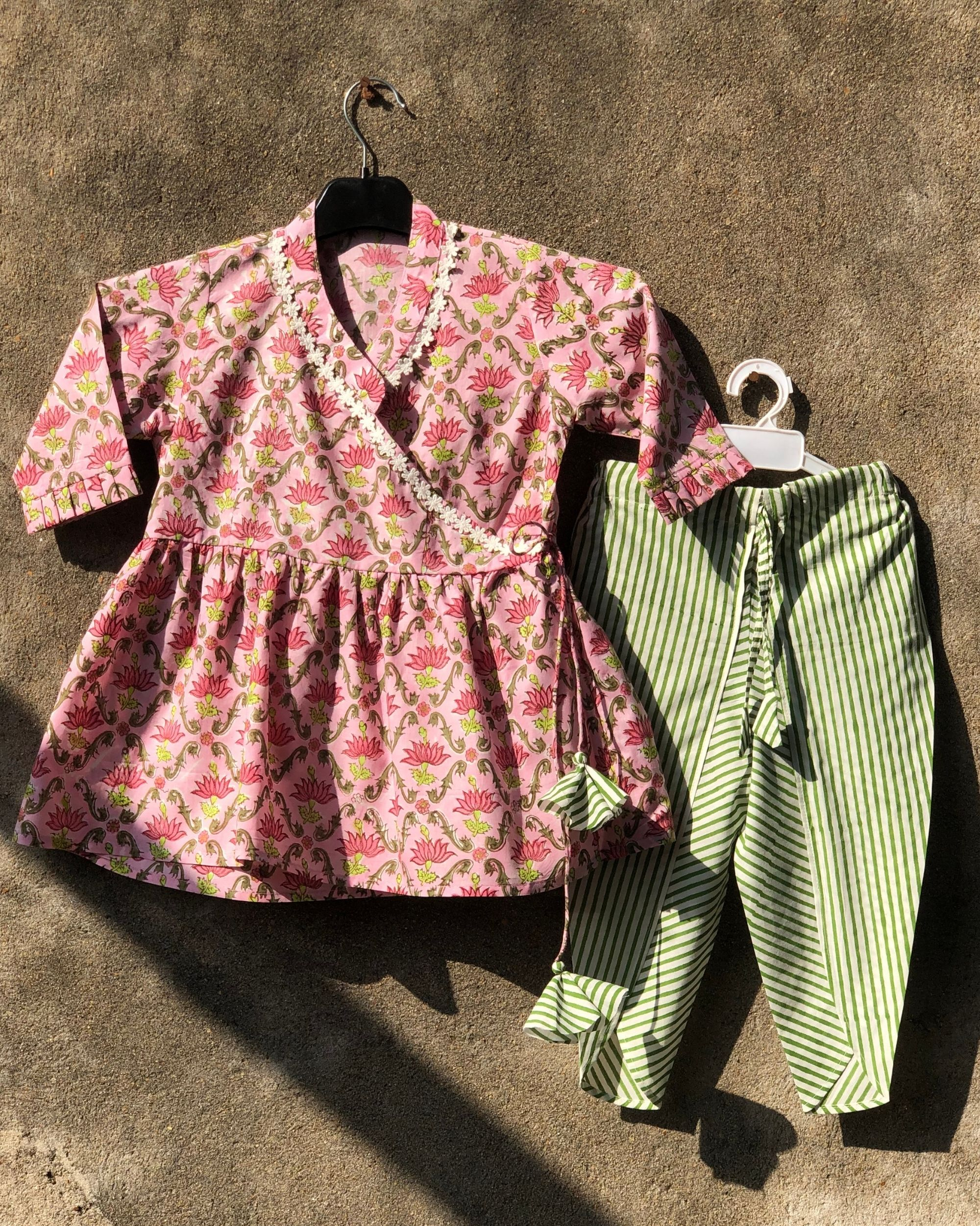 Lotus pink angrakha top with tulip pants - set of two