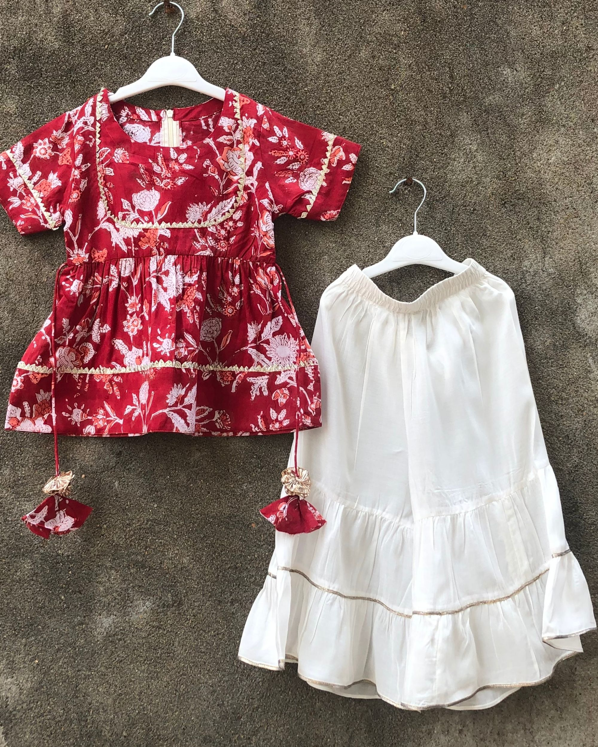 Red floral peplum top with white sharara - set of two