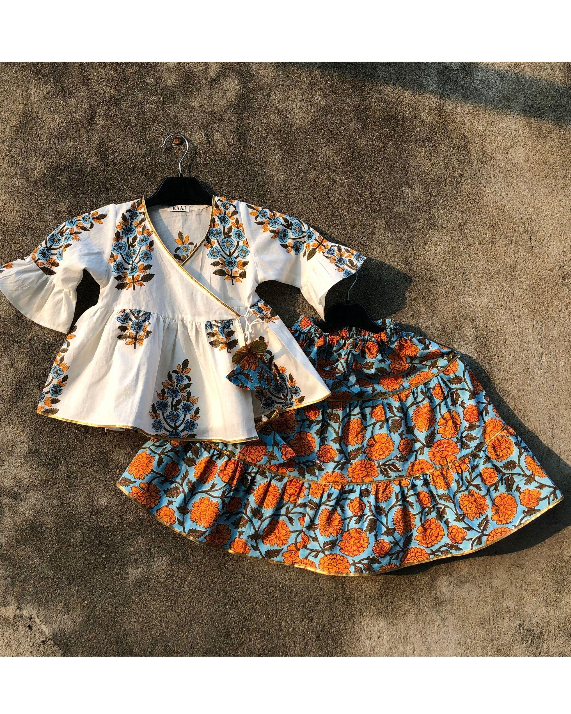 Marigold angrakha lehenga set - set of two