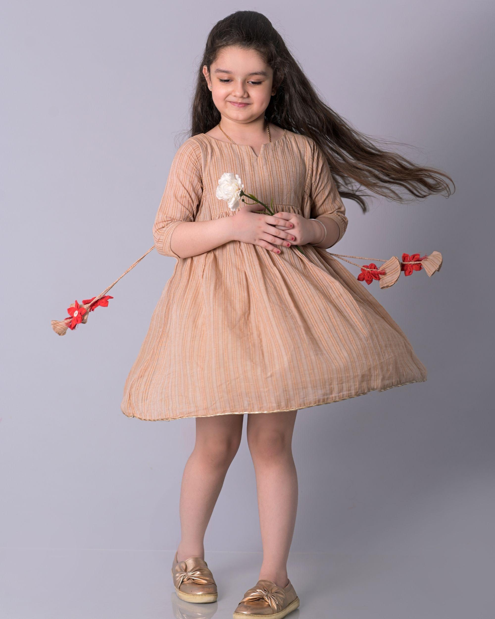 Beige zari striped cotton dress