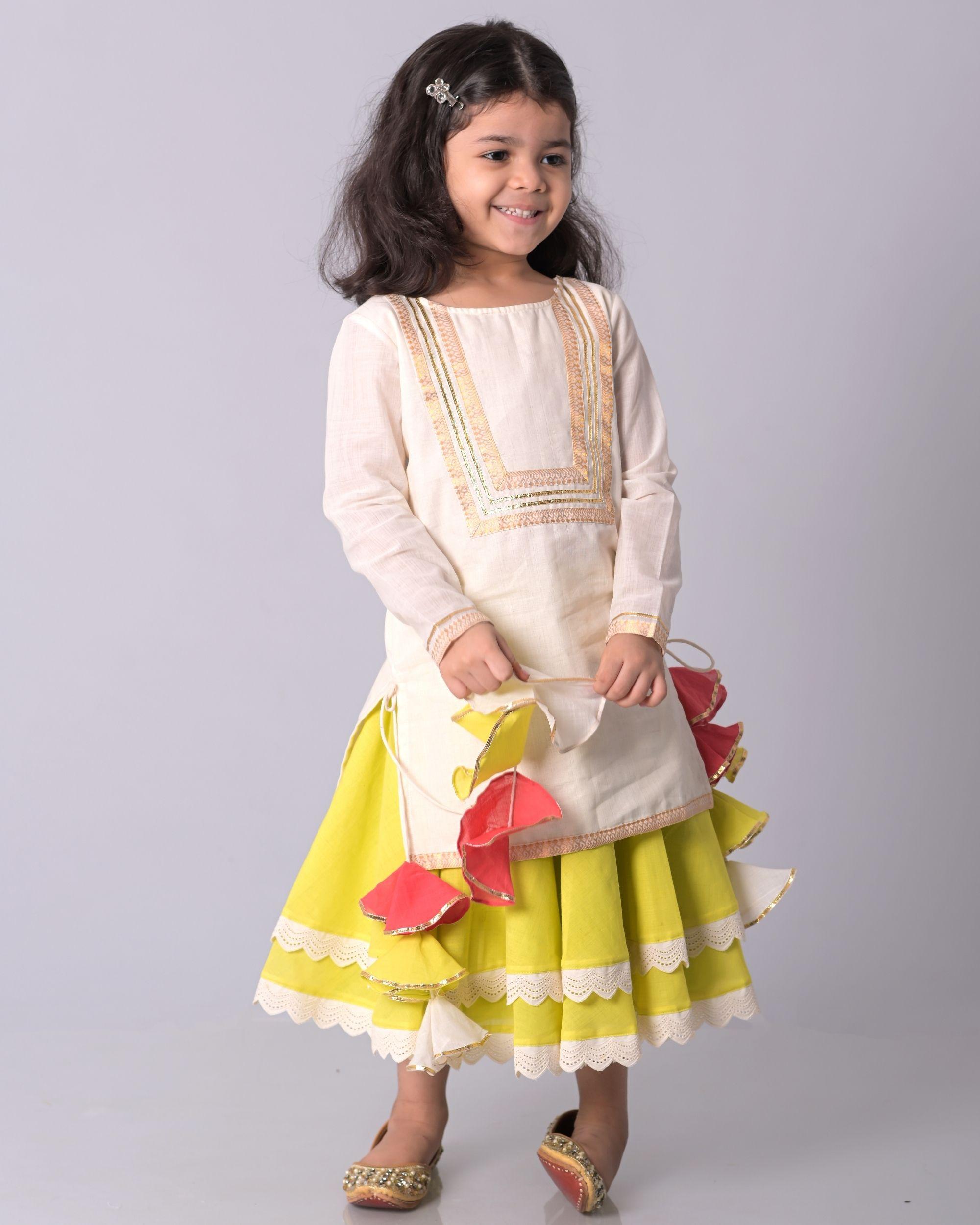 Off white zari kurta and lime banjara skirt - set of two