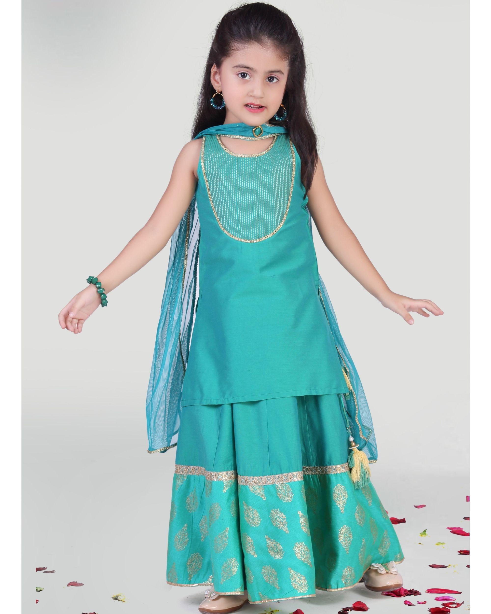 Aqua green kurta with skirt and dupatta - set of three
