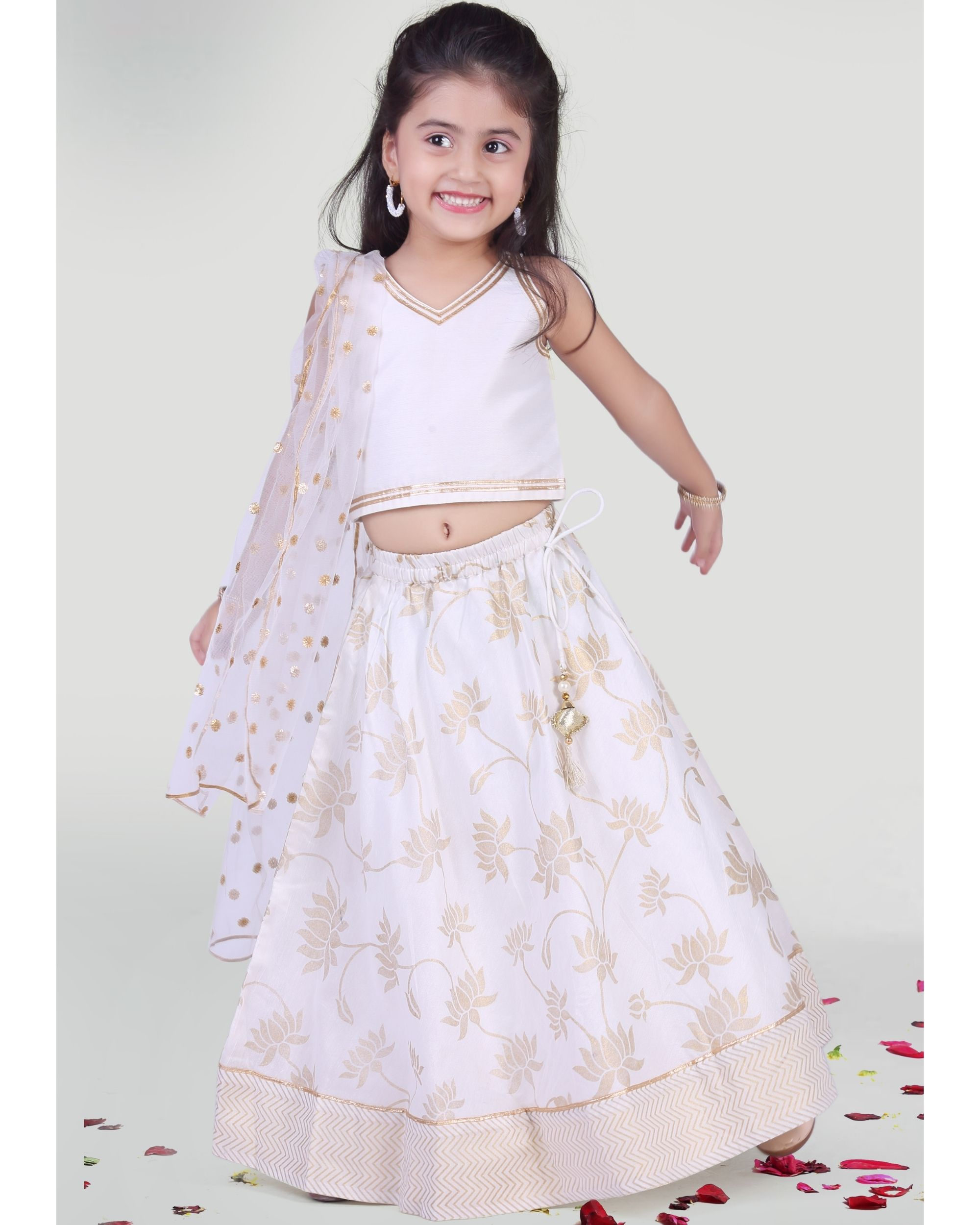 White choli and skirt with dupatta - set of three