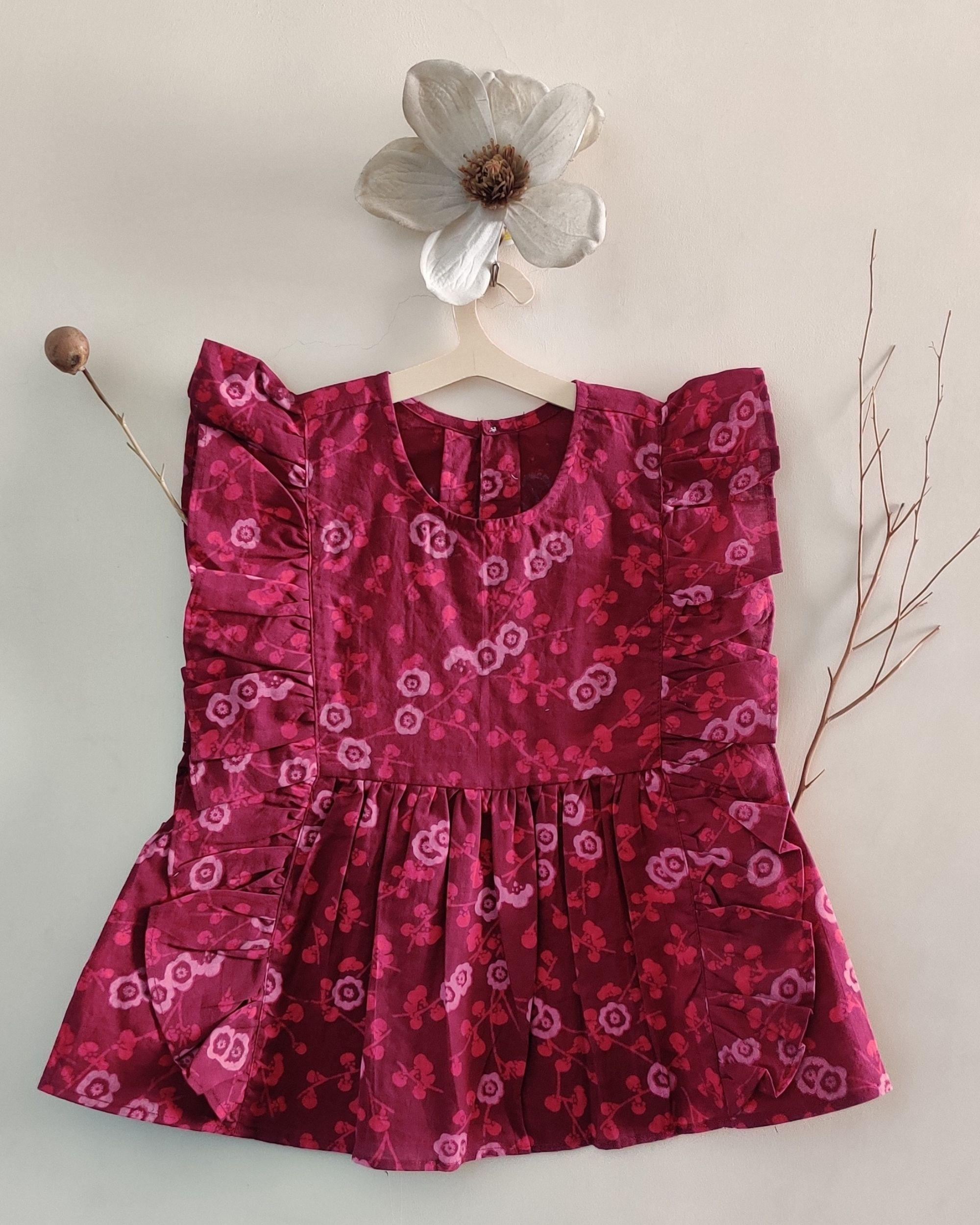 Pink block printed frilled dress