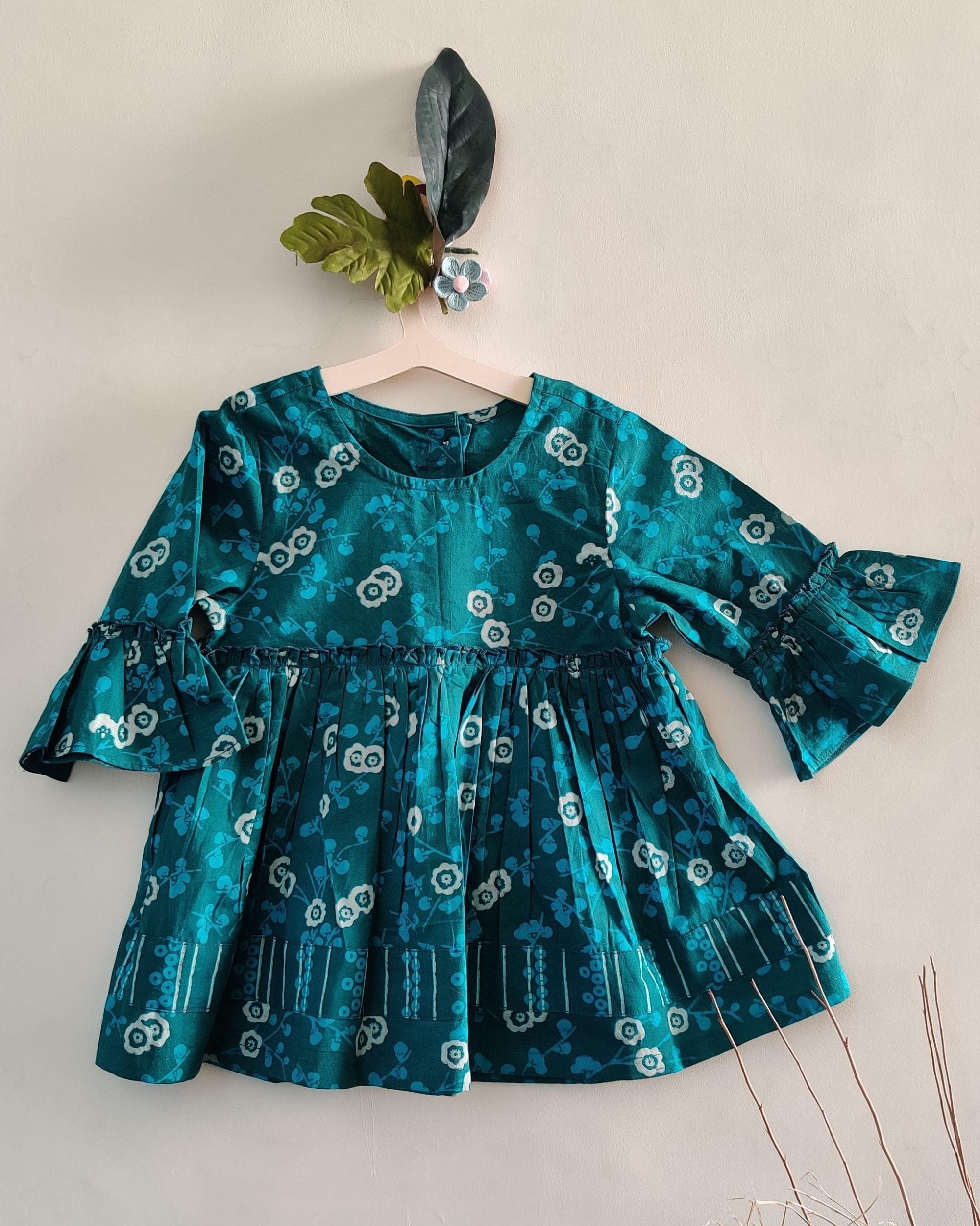 Blue block printed bell sleeve dress