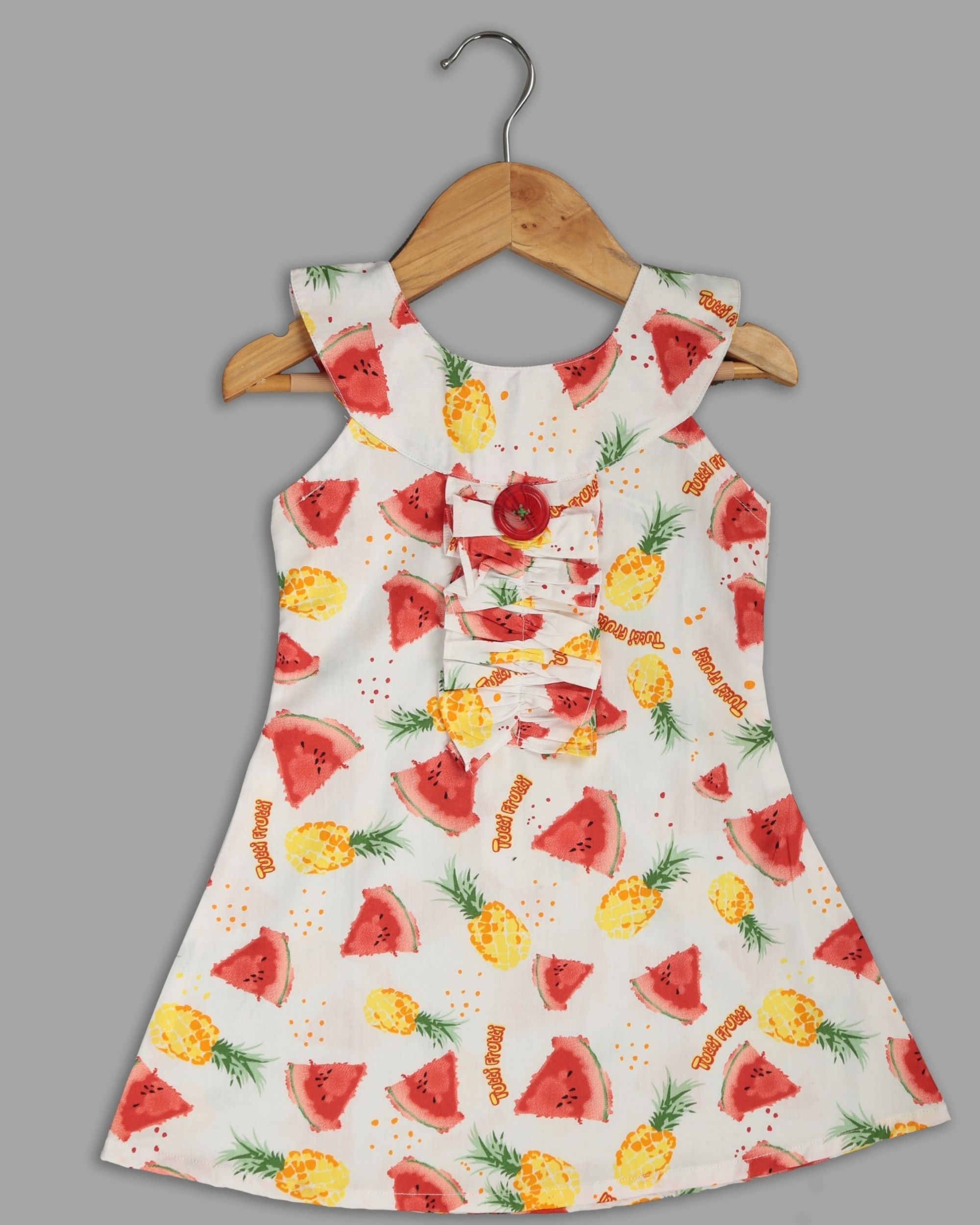 White fruit printed ruffle dress