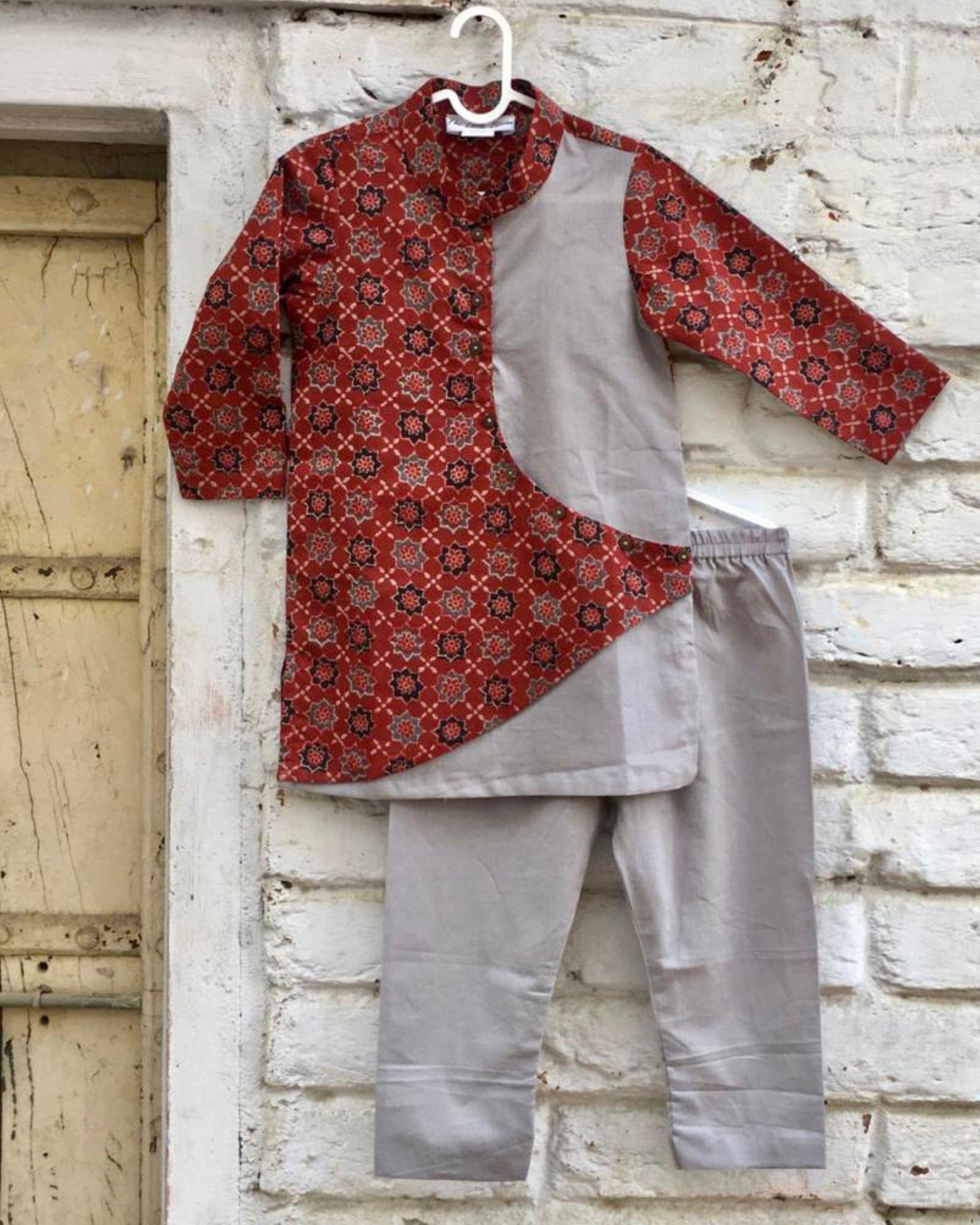 Grey and red ajrakh printed kurta and pyjama - set of two