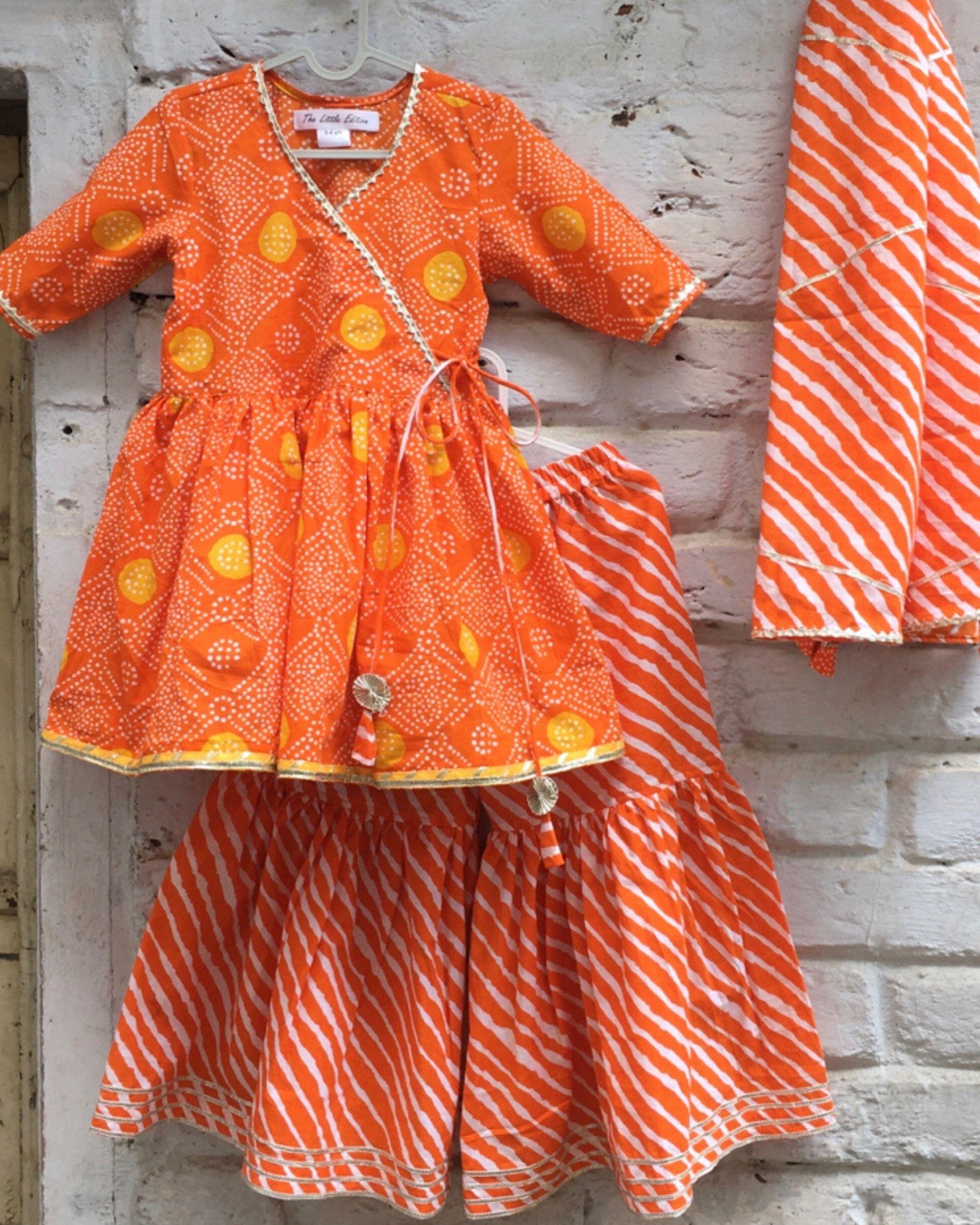 Orange bandhej gota kurta and leheriya sharara with dupatta - set of three