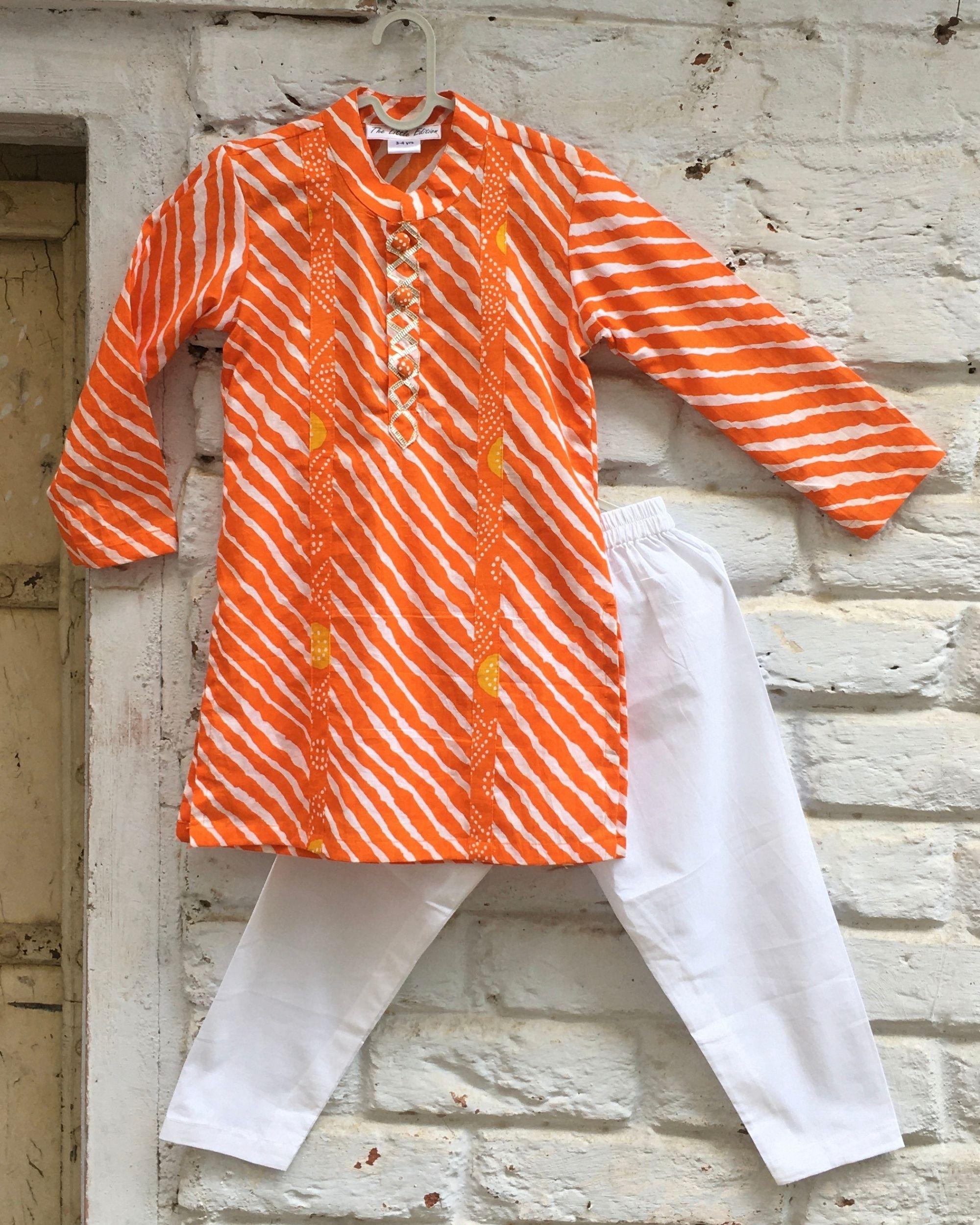 Orange bandhej paneled leheriya kurta and white pyjama - set  of two