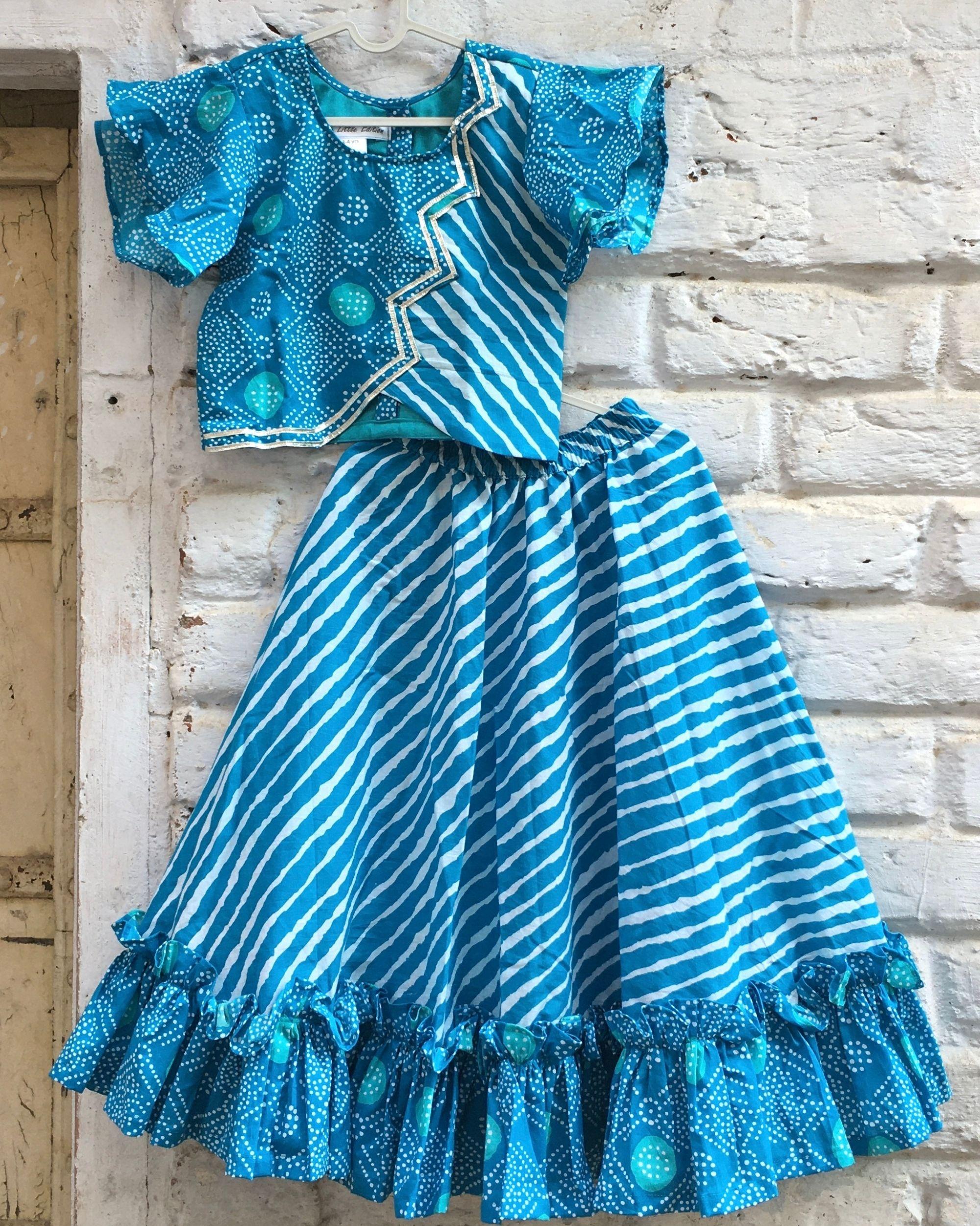 Blue bandhej leheriya gota detailed top and frilled lehenga - set of two