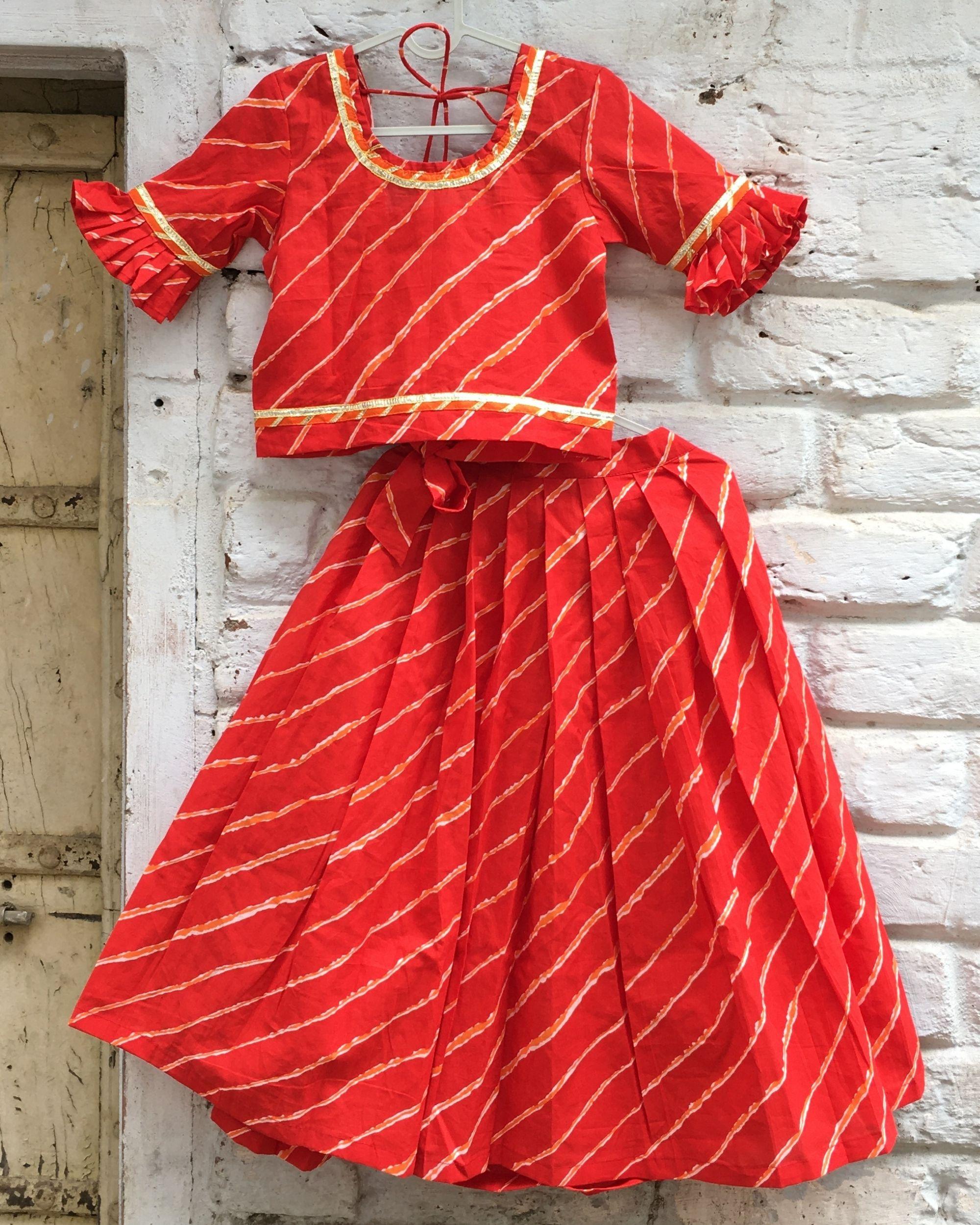 Red gota leheriya frilled sleeve top and pleated lehenga - set of two