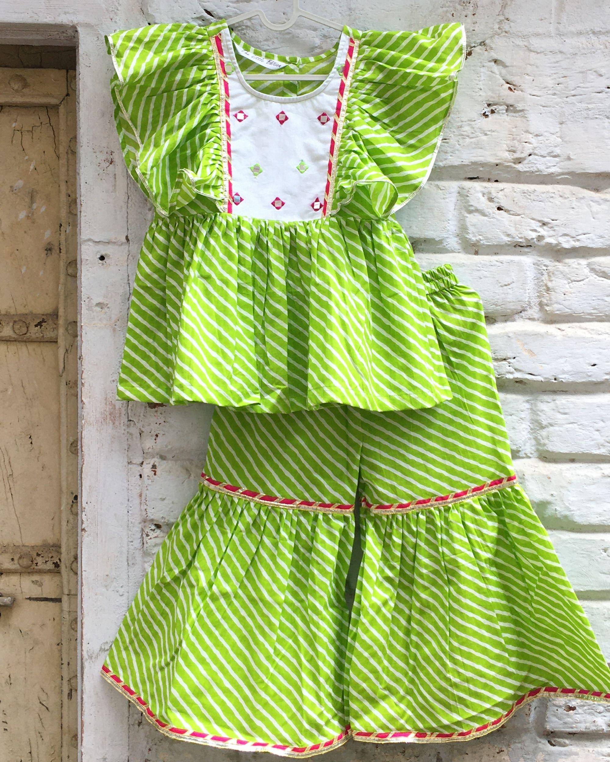 Lime green leheriya mirror work yoke kurta and lace detailed sharara - set of two