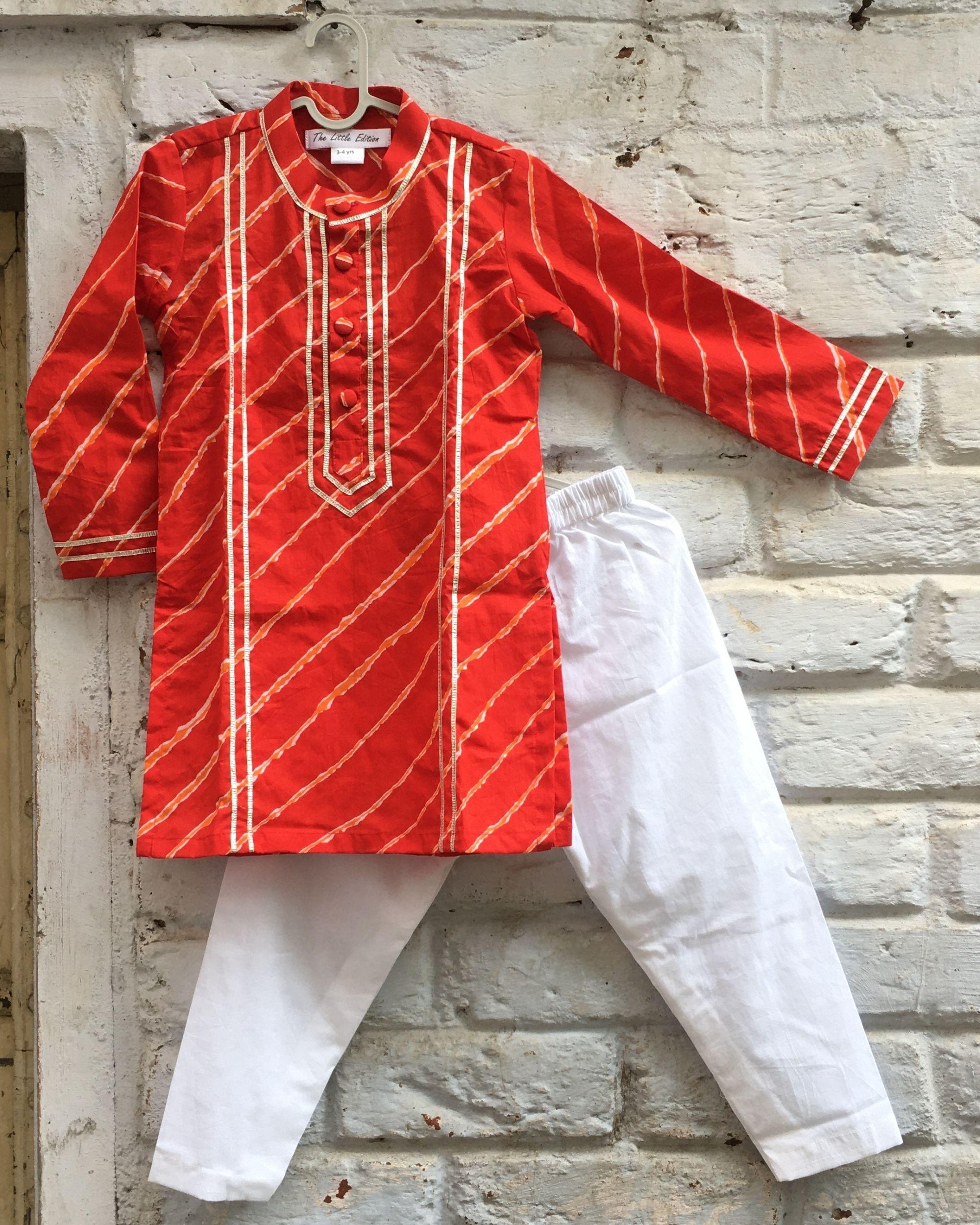 Red gota leheriya kurta and white pyjama - set of two