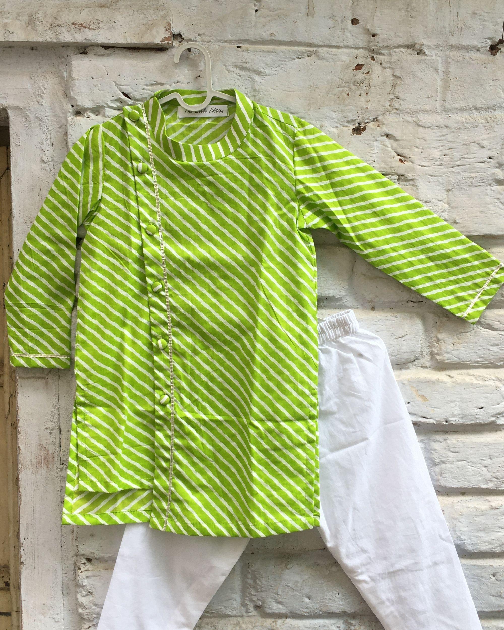 Lime green leheriya asymmetric kurta and white pyjama - set of two
