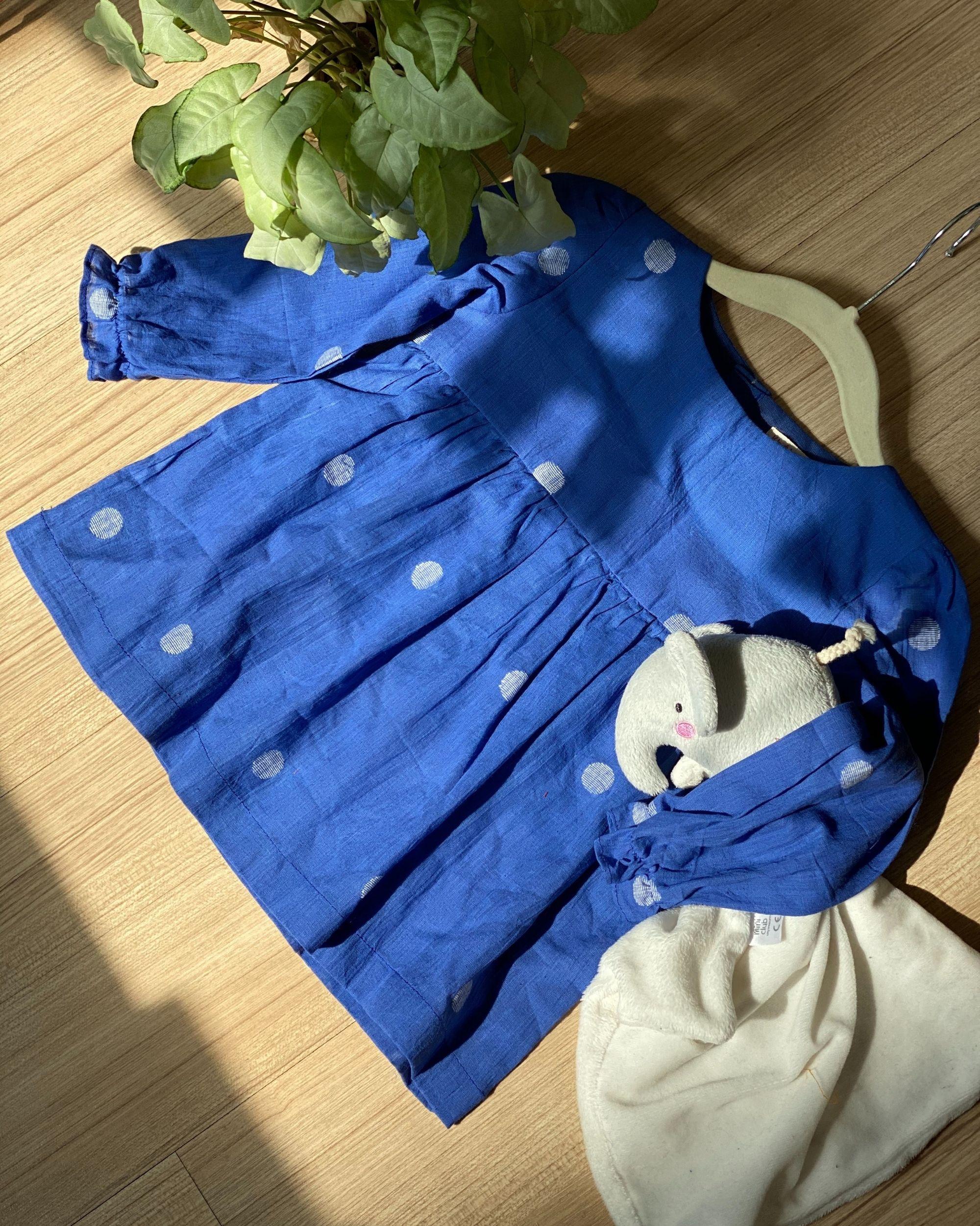 Indigo blue polka dress