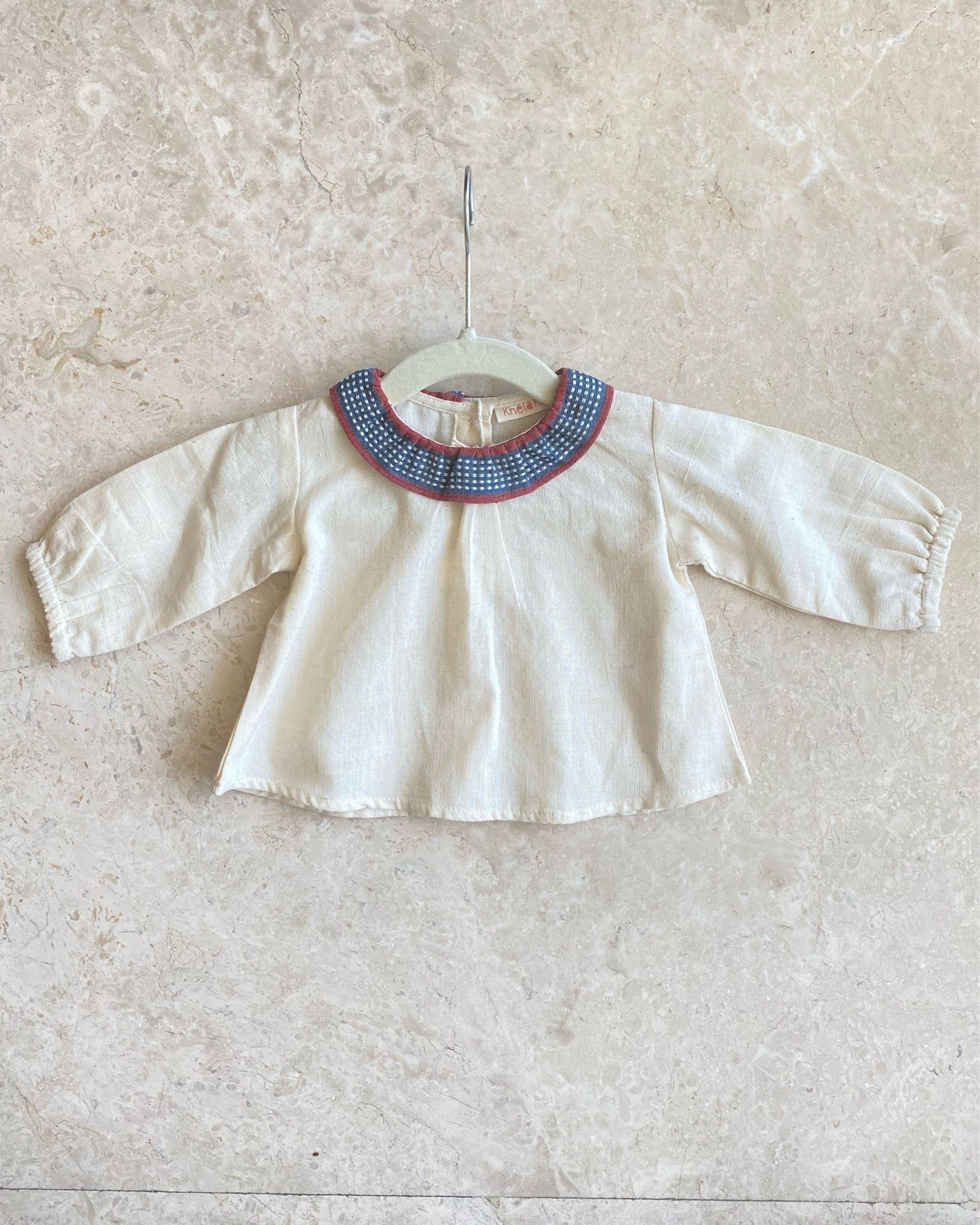 Off white malkha cotton top