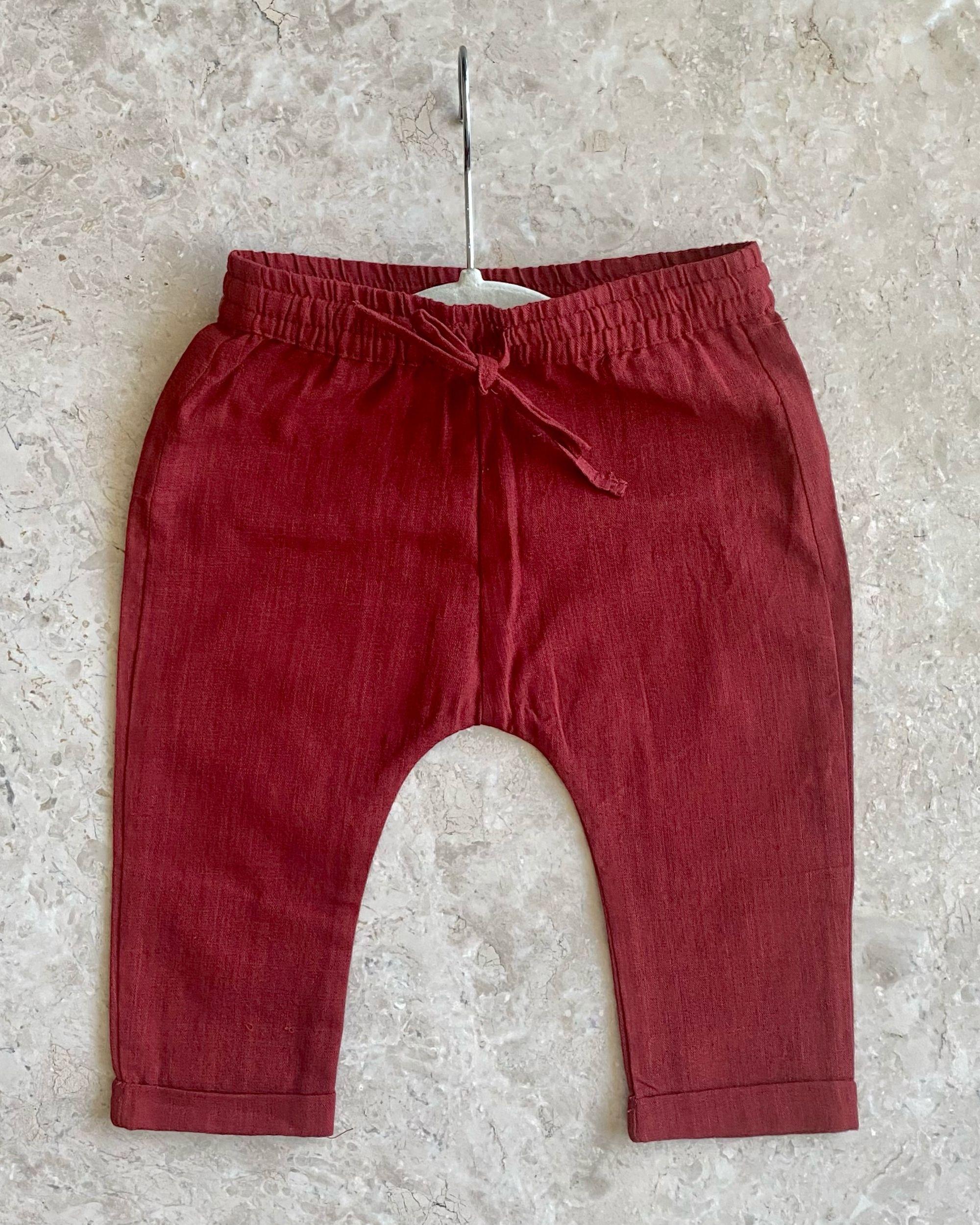 Red malkha cotton pants