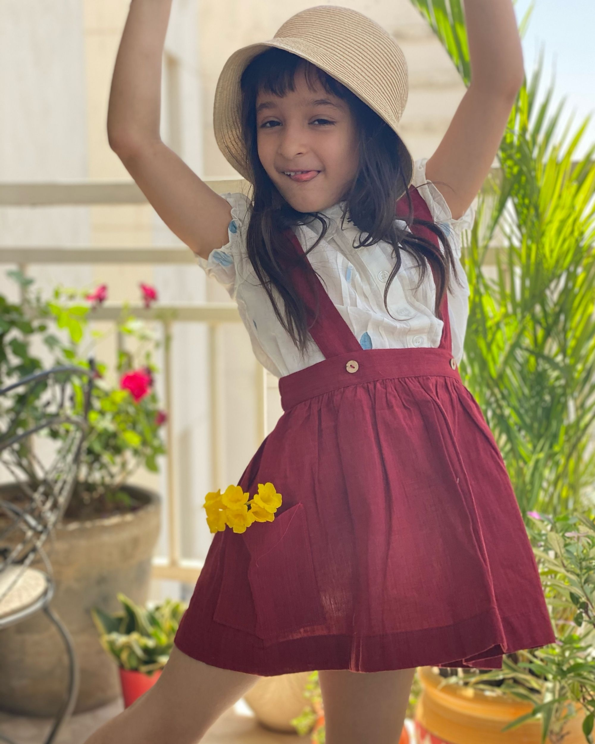 Red suspender skirt