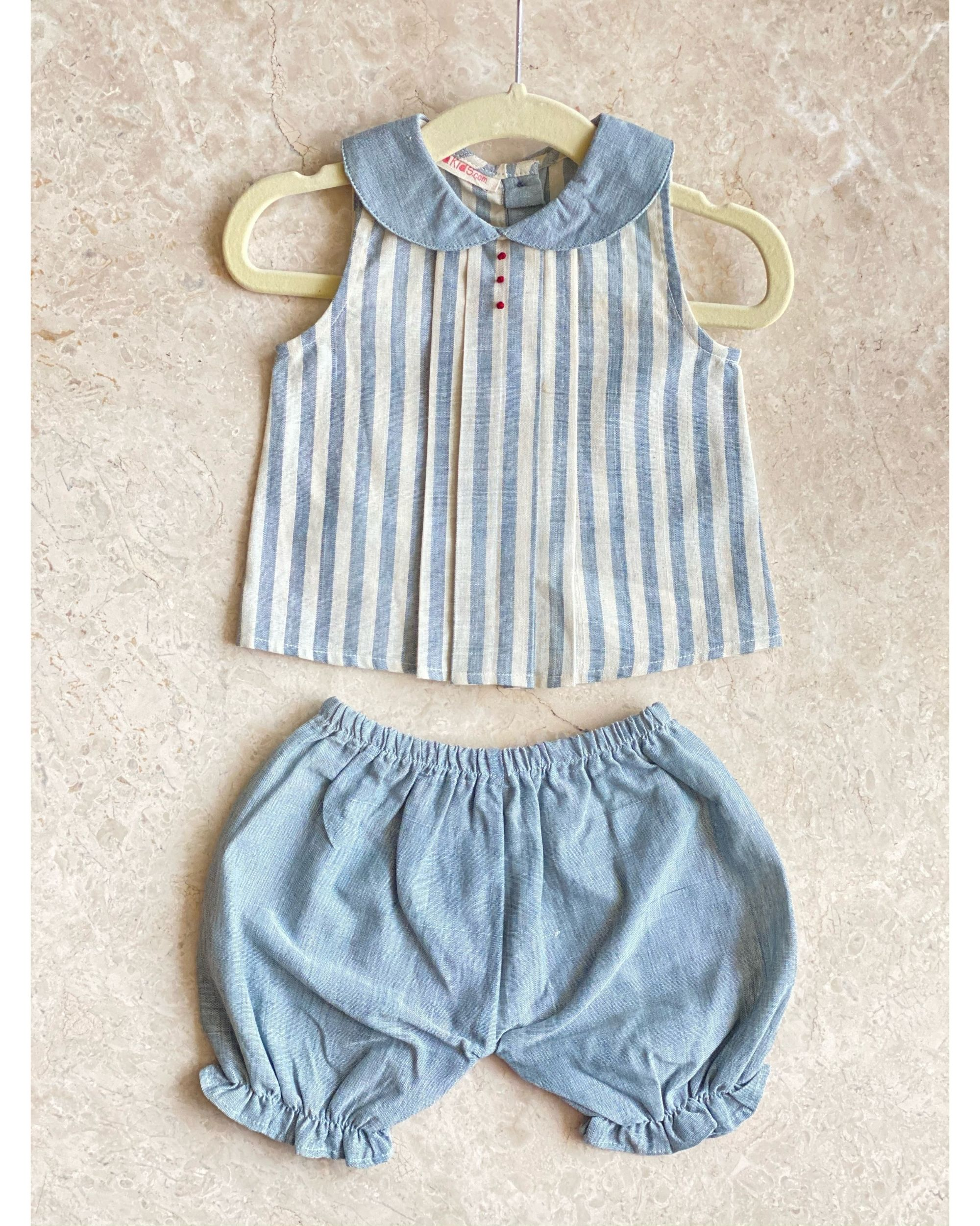 Off  white and blue striped top with knickers - set of two
