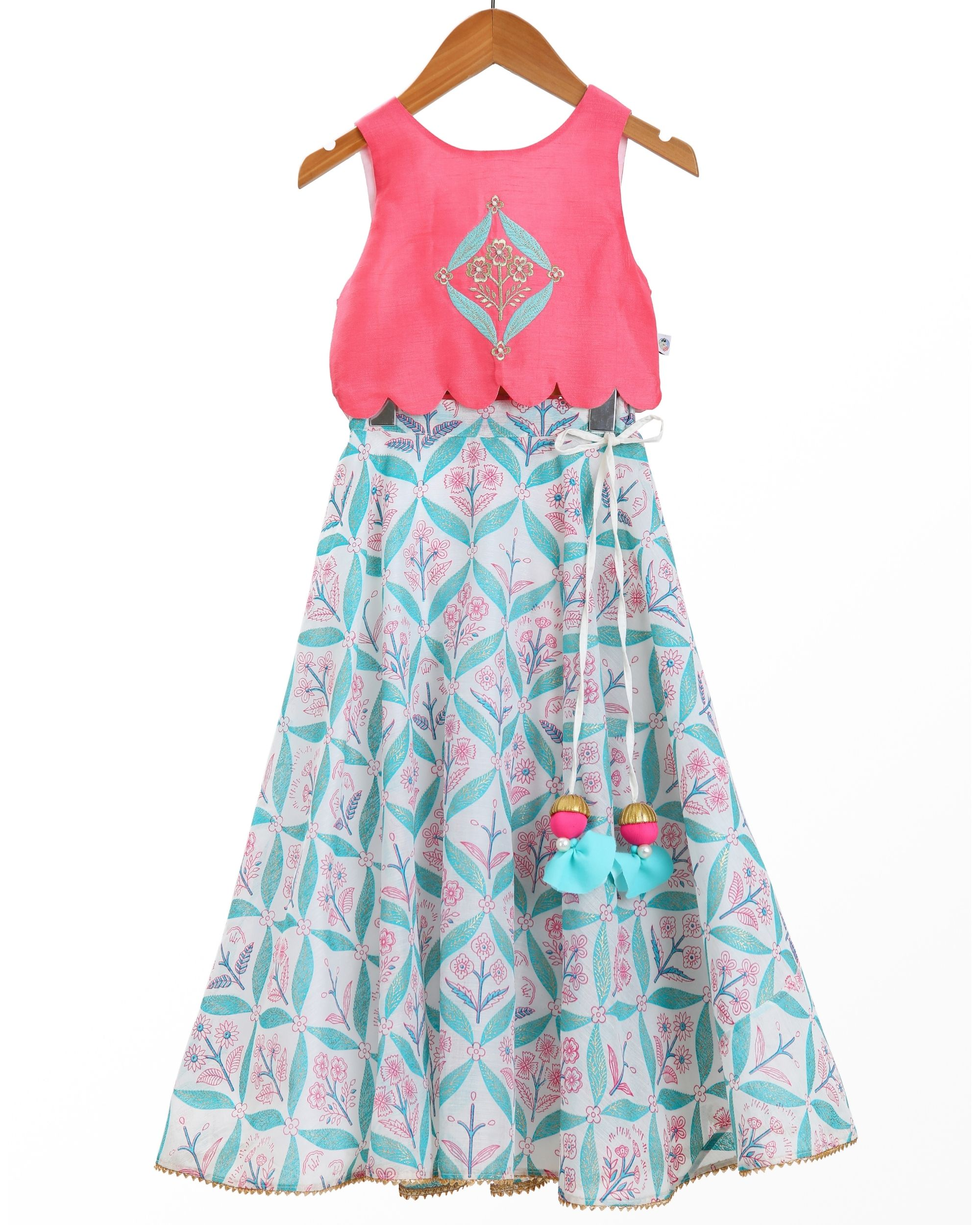 Fuchsia hand embroidered scallop top and blue flared lehenga - set of two