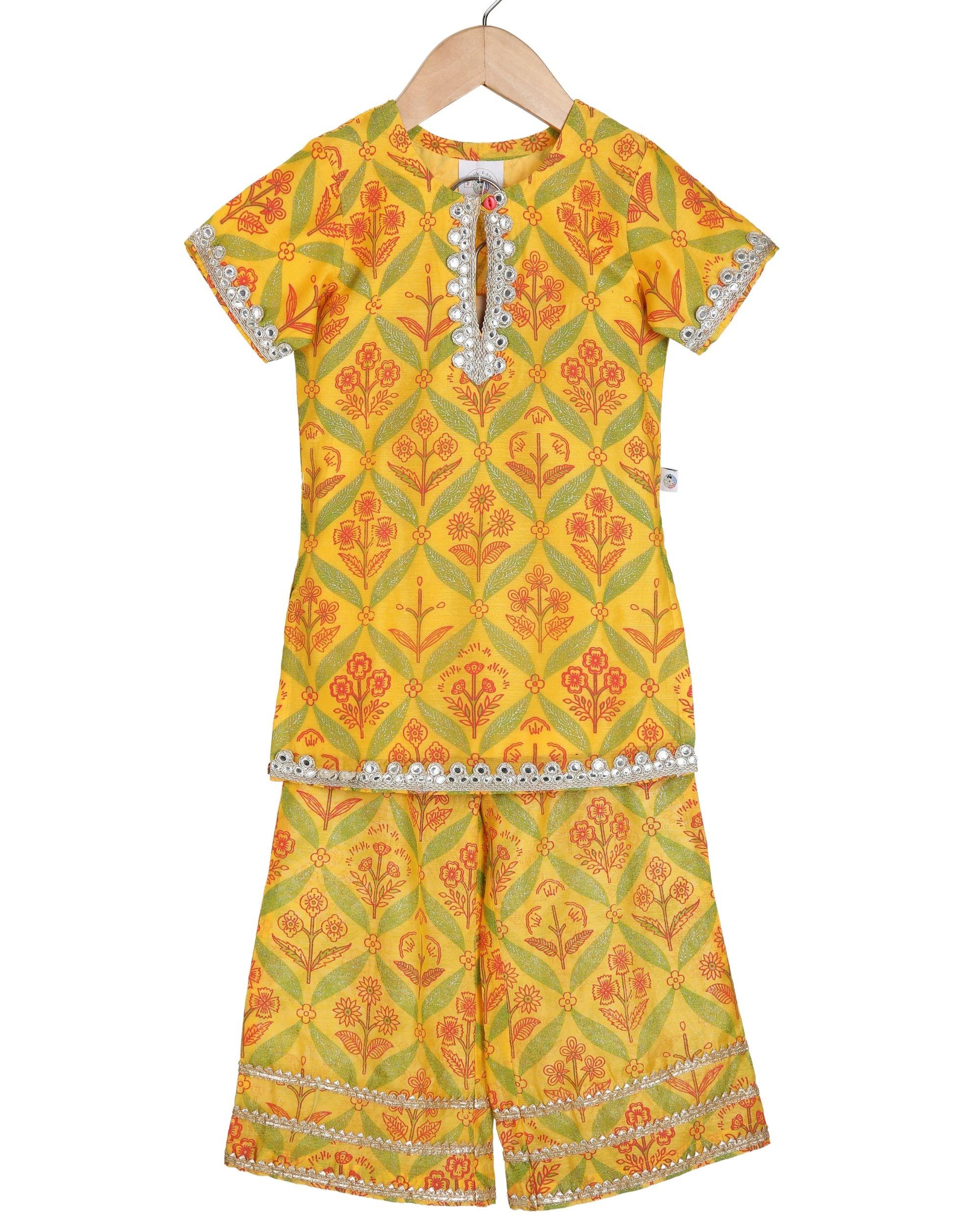 Saffron mirror embroidery kurta and palazzo - set of two