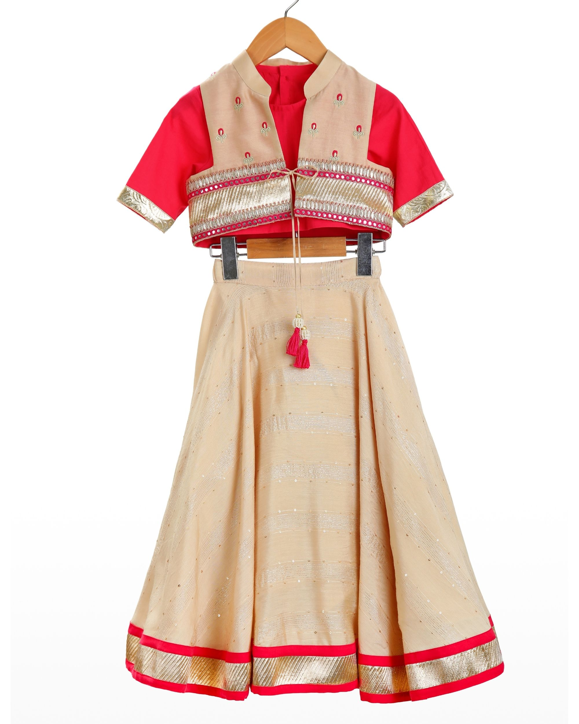 Red and beige crop top and jacket with lehenga - set of three