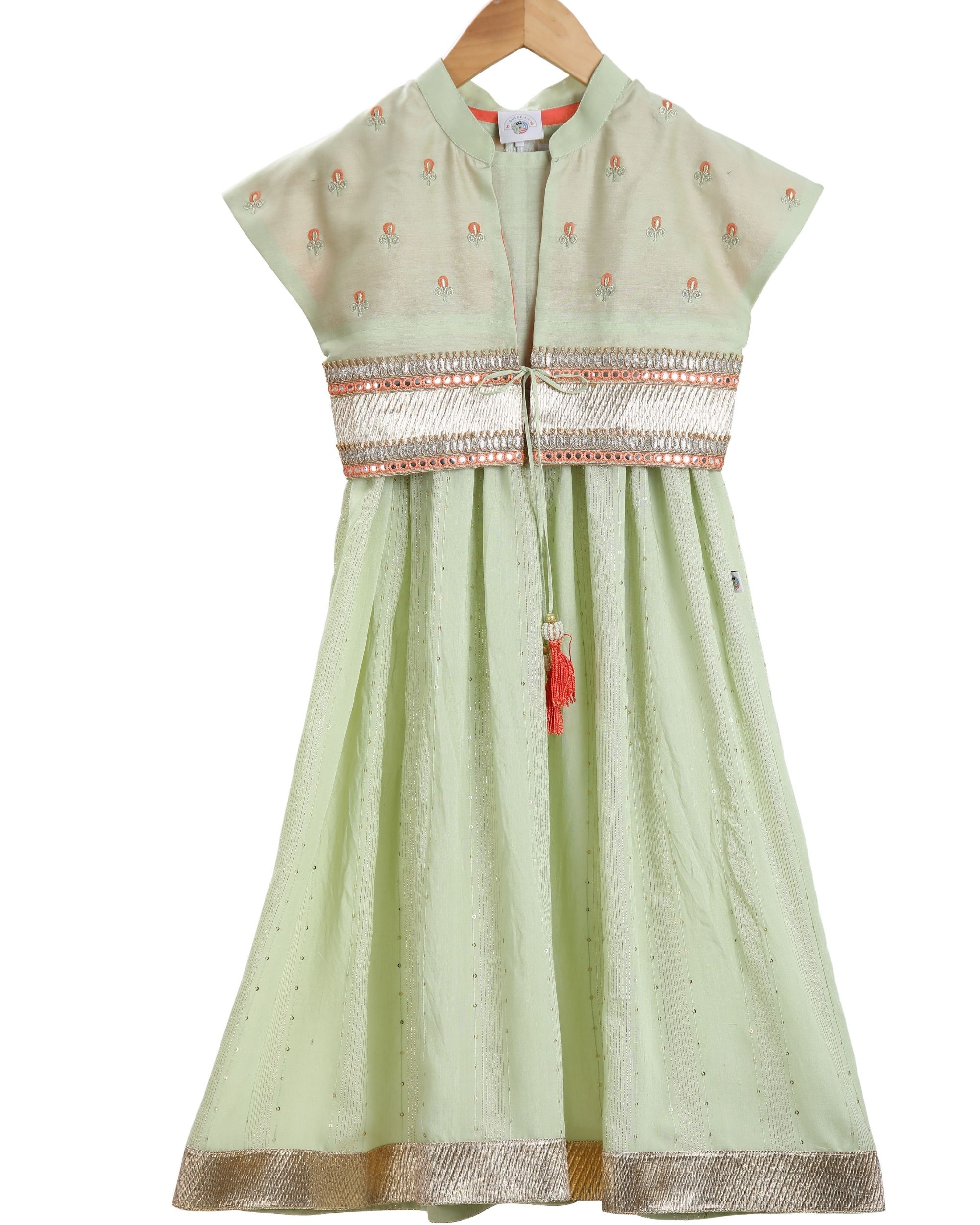 Mint cropped jacket and anarkali - set of two
