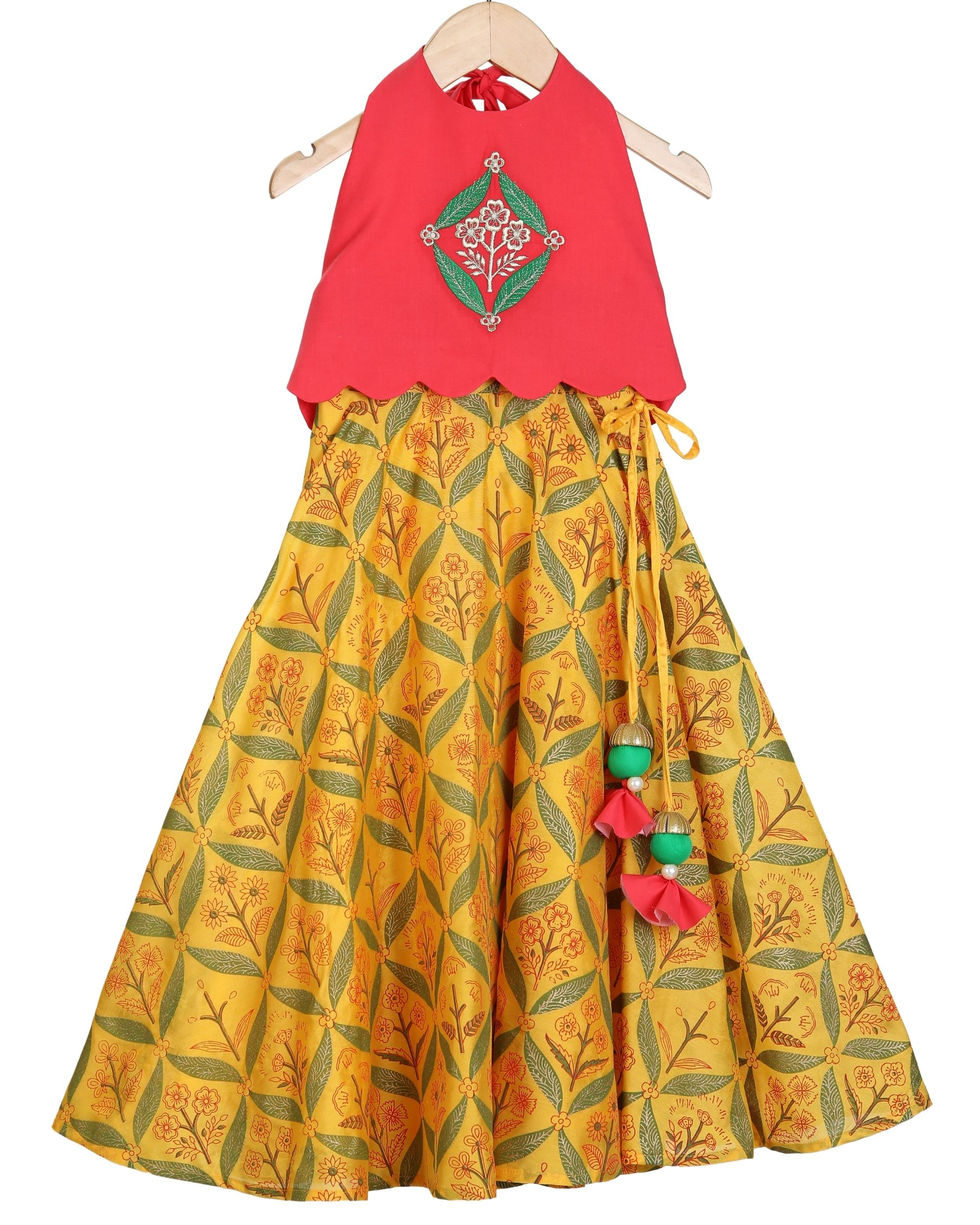 Red halter scalloped top and saffron lehenga - set of two