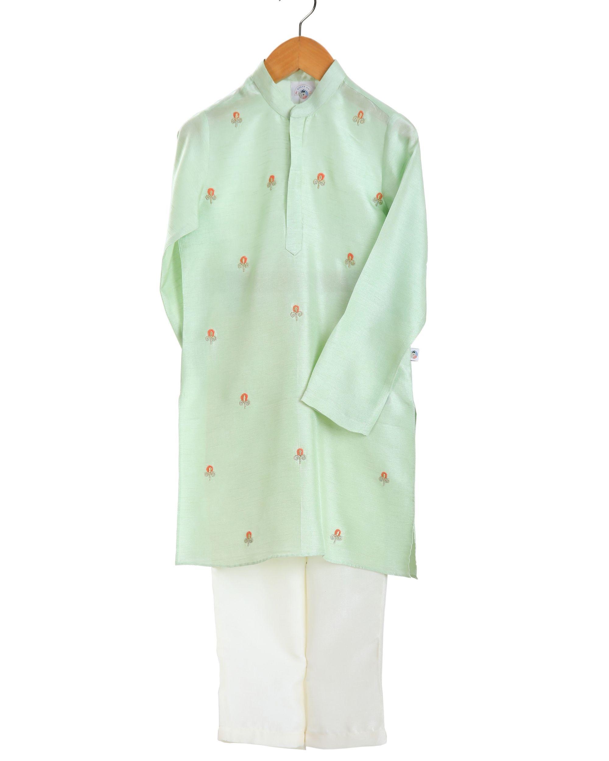 Mint embroidered kurta and ivory pajama - set of two
