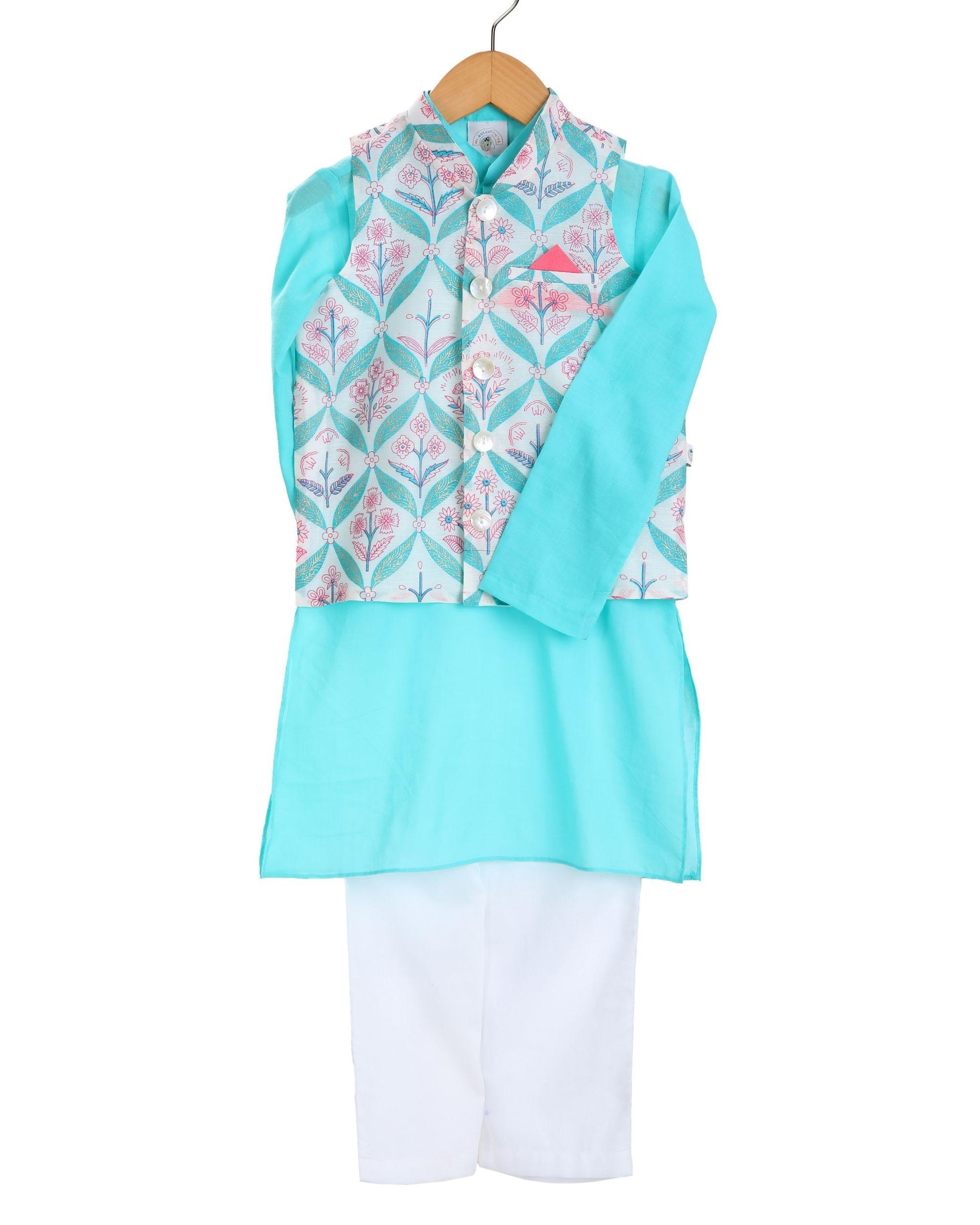 Turquoise kurta and ivory pajama with botanical printed jacket - set of three