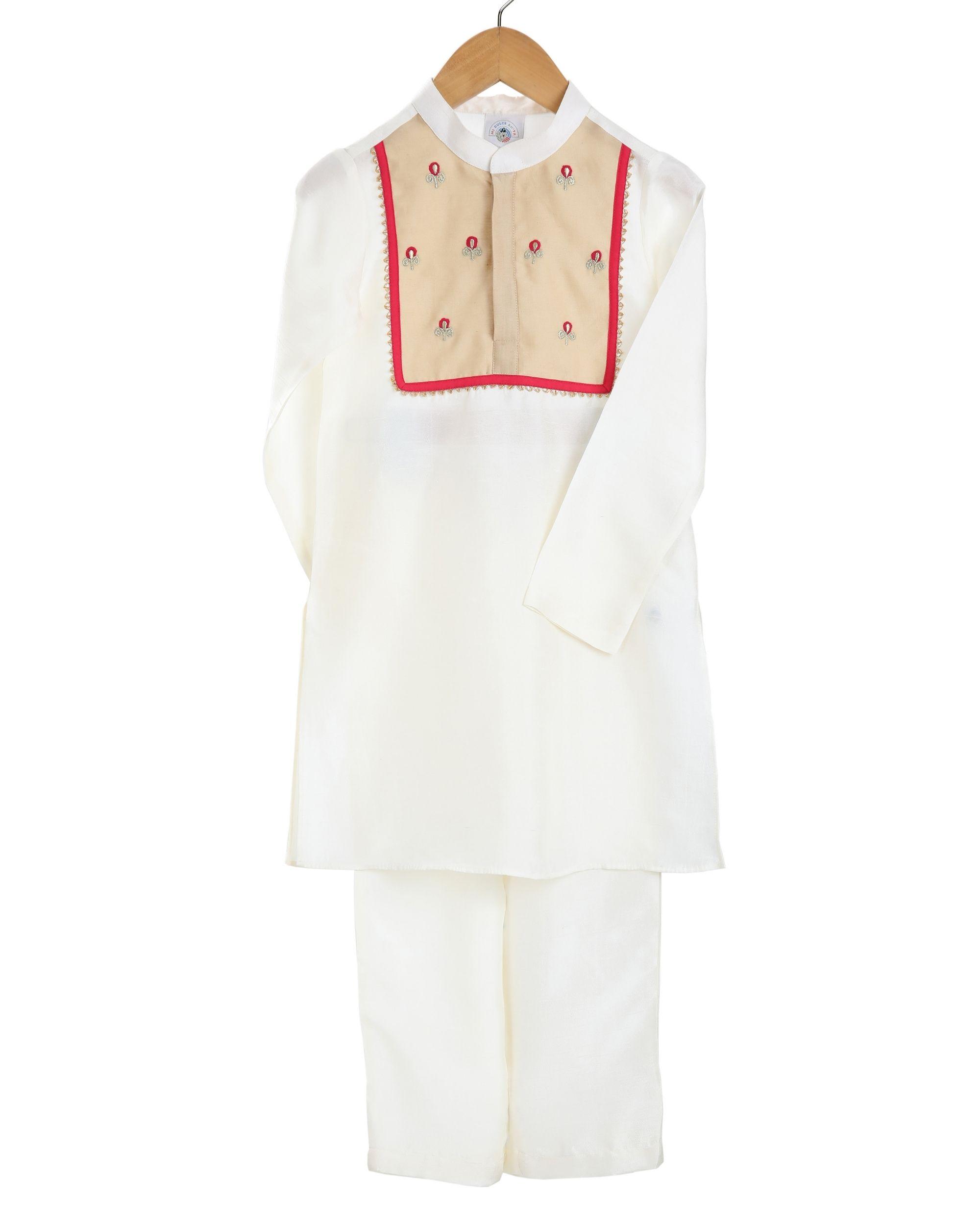 Ivory yoke detailed kurta and pants - set of two