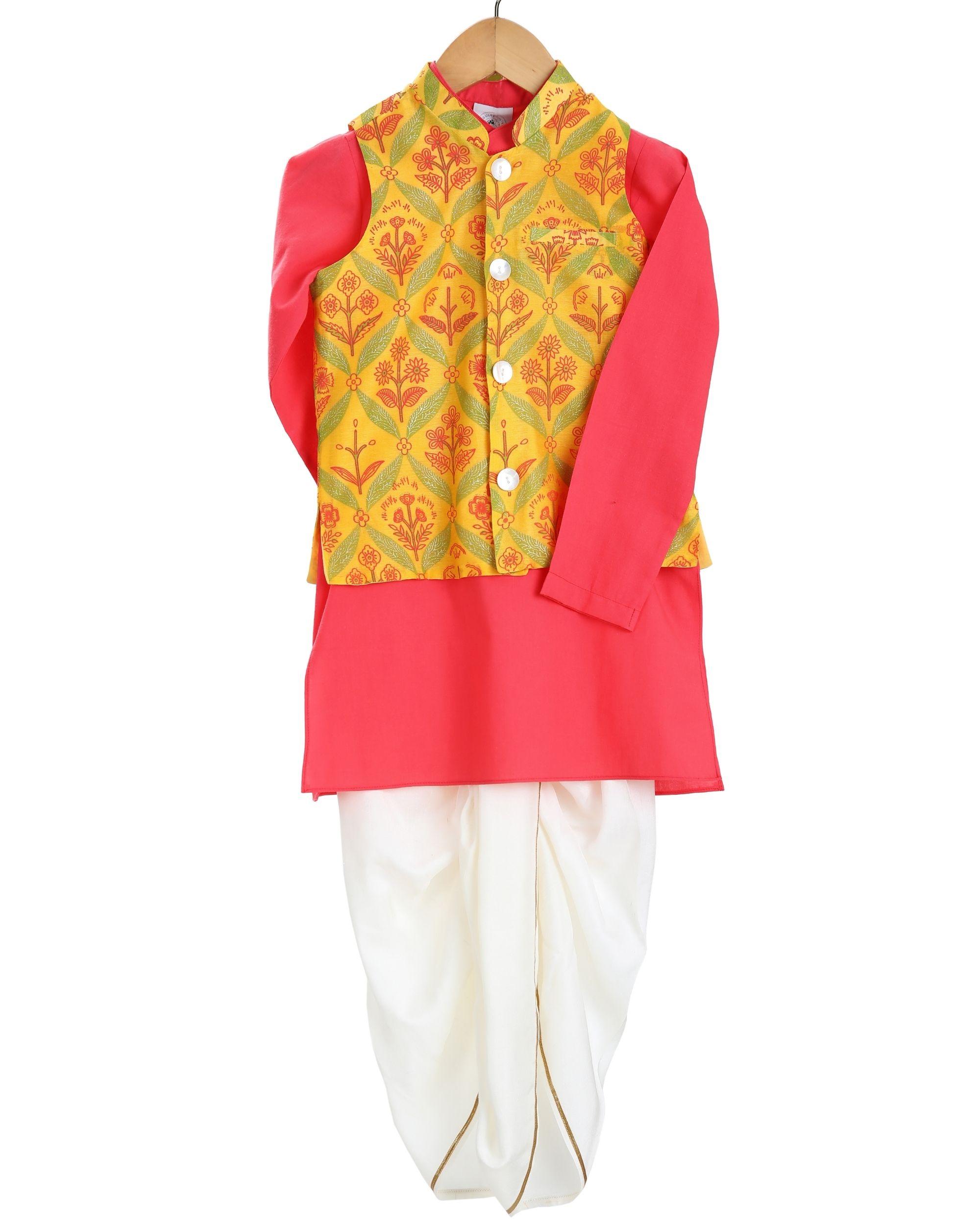 Red kurta and saffron printed jacket with white dhoti pants - set of three