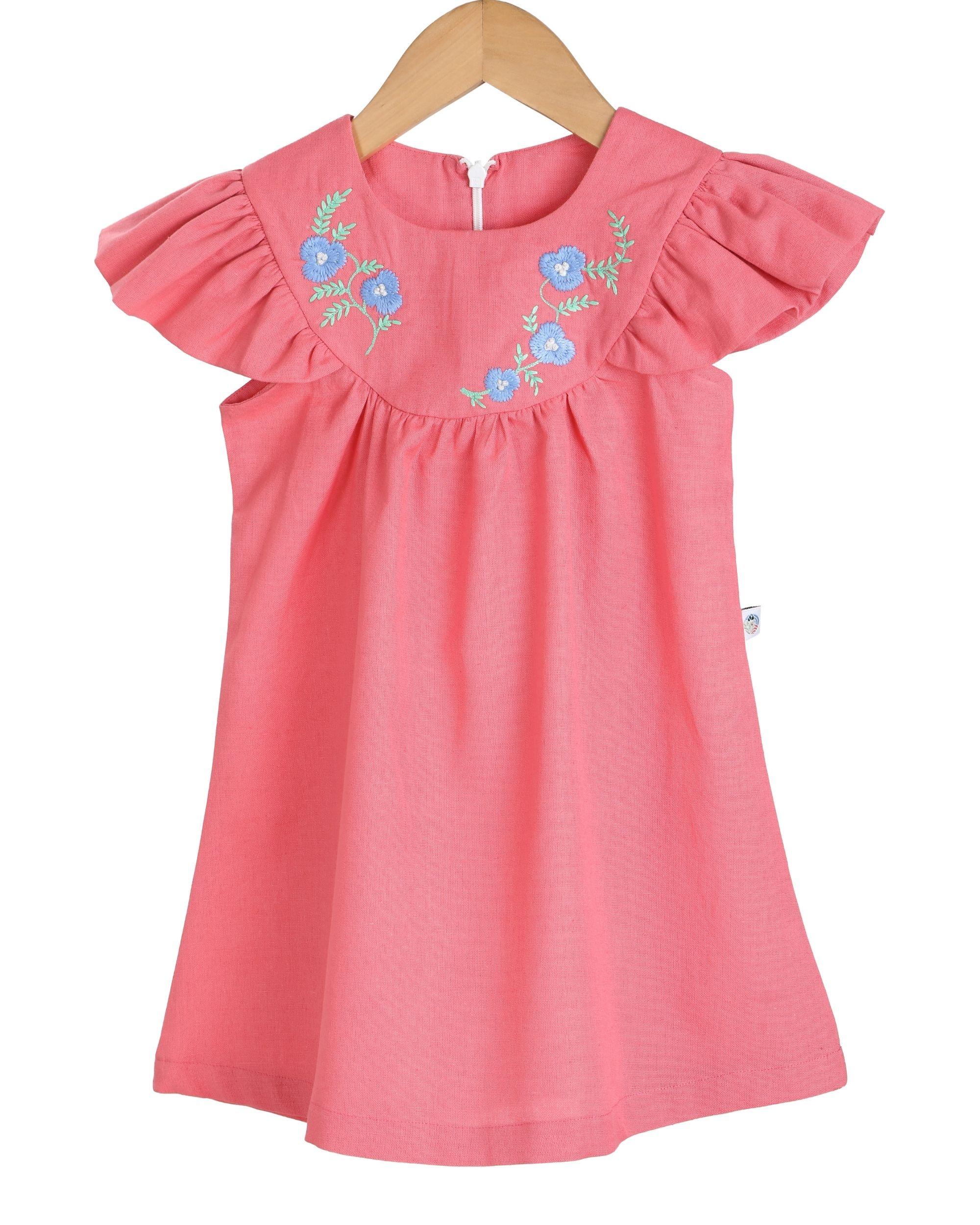 Fuchsia yoke embroidered dress