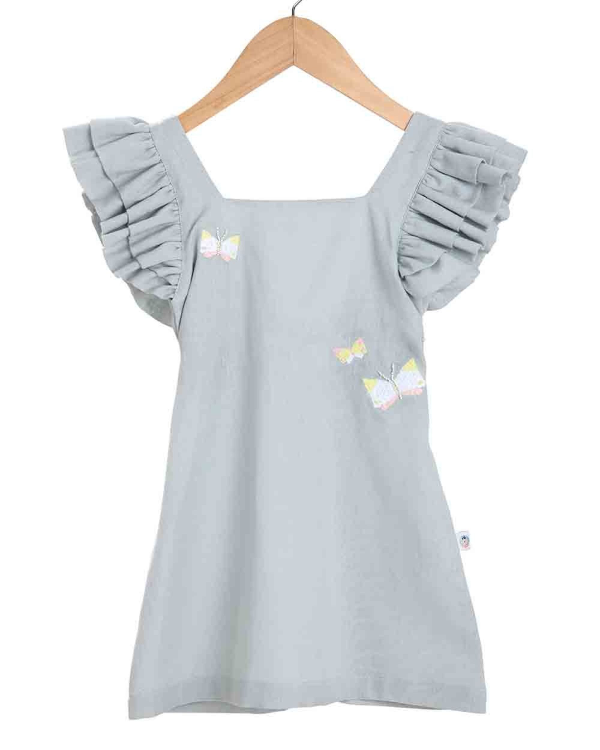 Grey butterfly embroidered dress