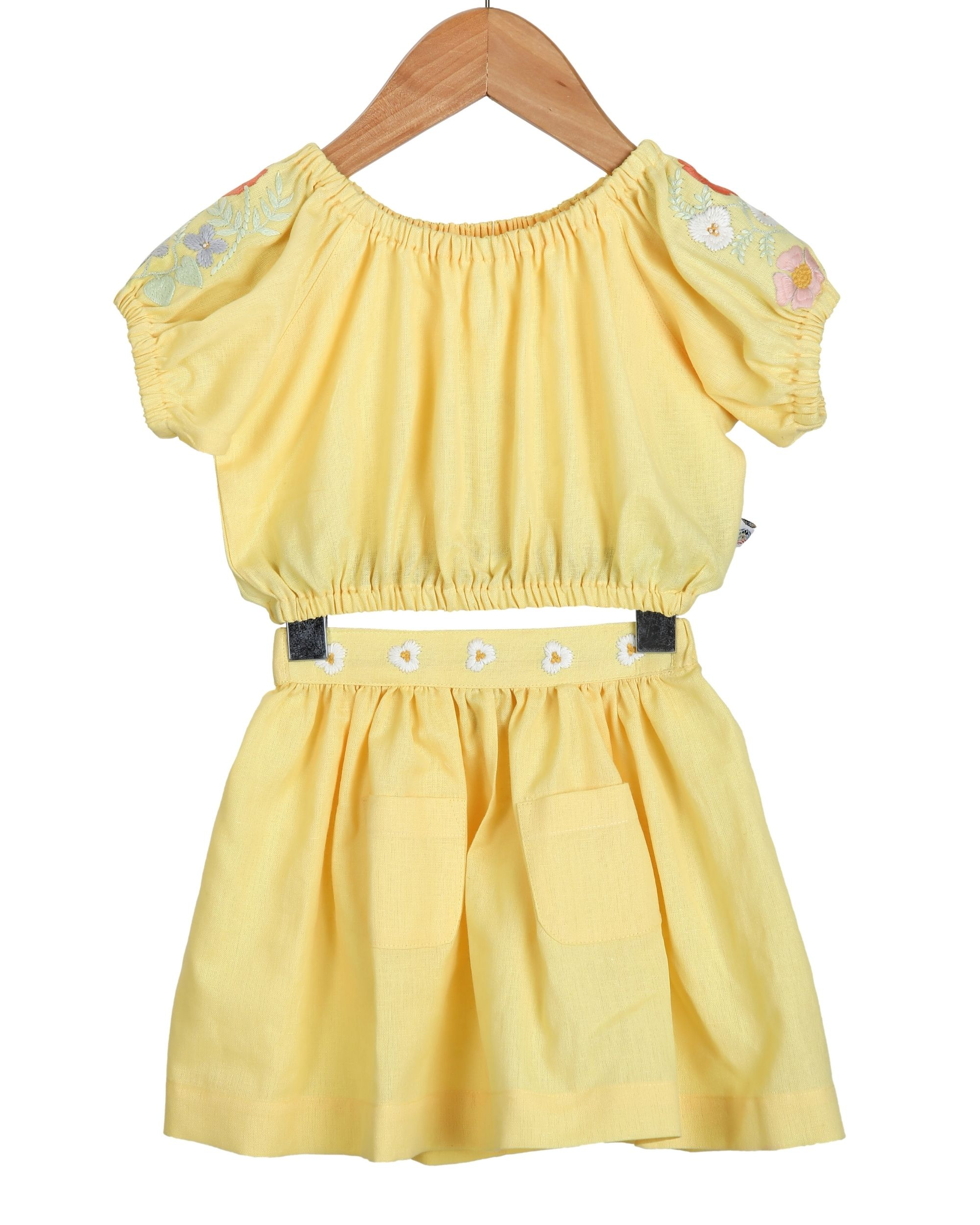 Yellow embroidered crop top and skirt - set of two