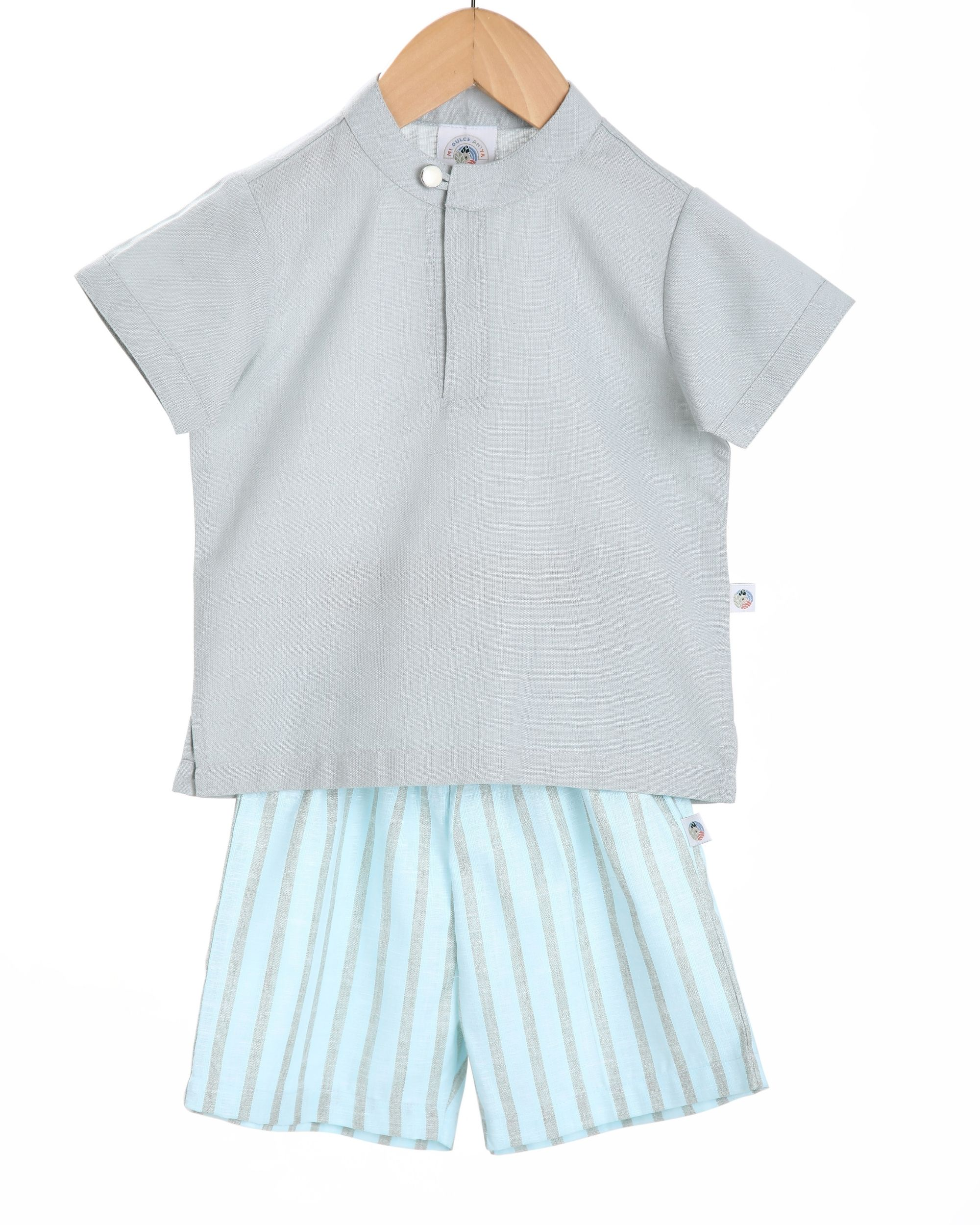 Grey shirt and sky blue striped bermudas shorts - set of two