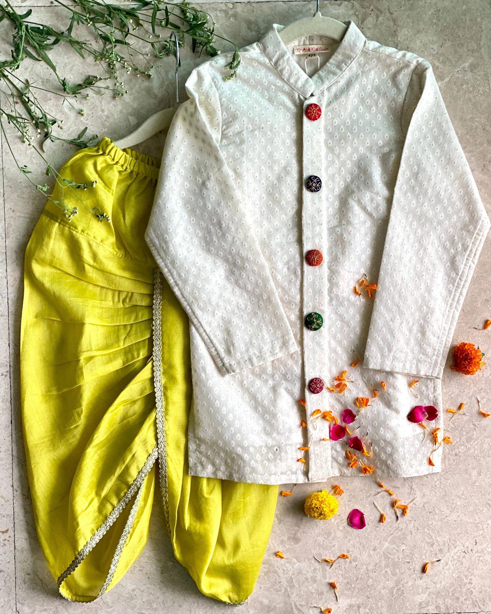 Off white banarasi sherwani with dhoti pants - set of two