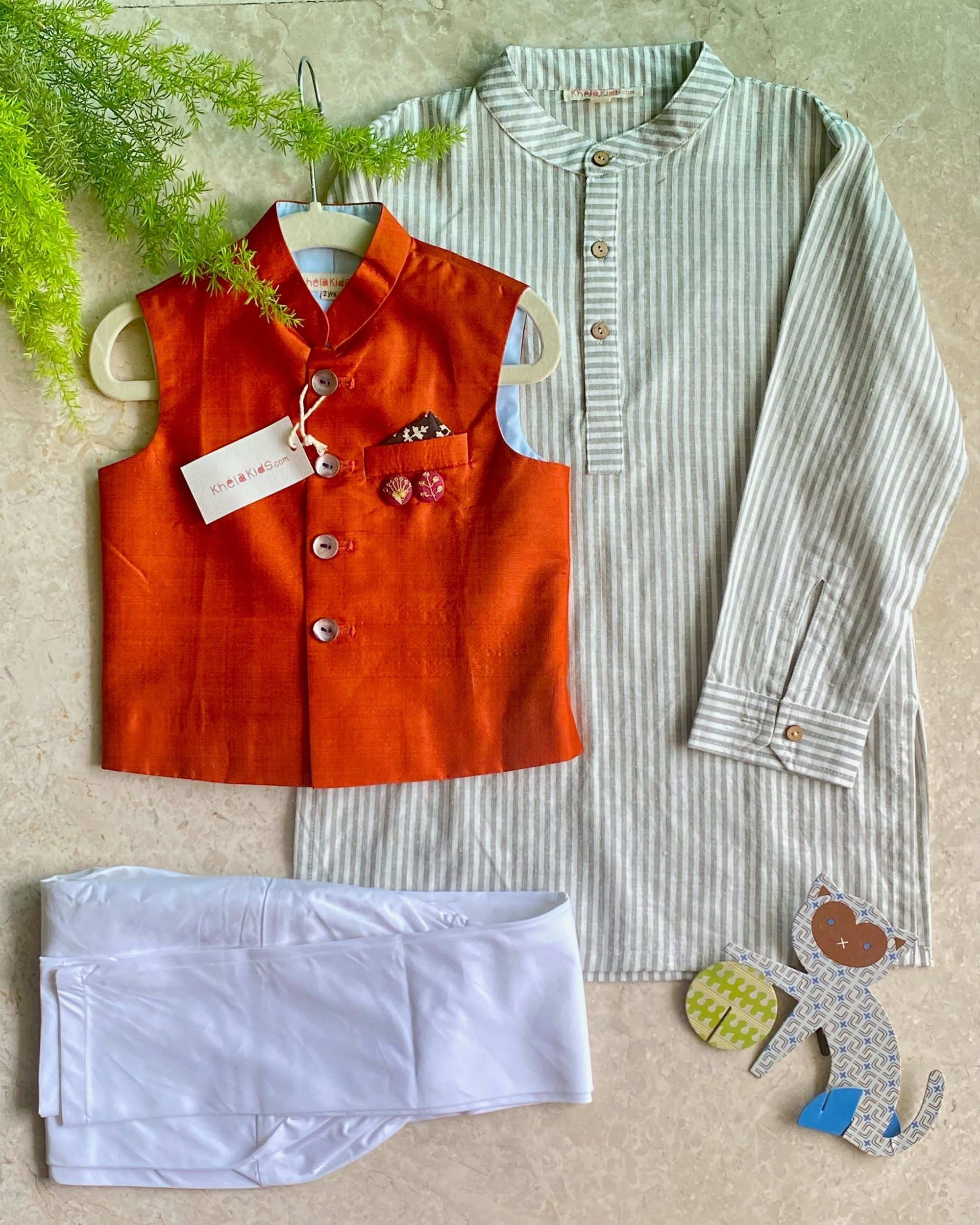 Off white and grey striped kurta with pyjama and bandi jacket - set of three